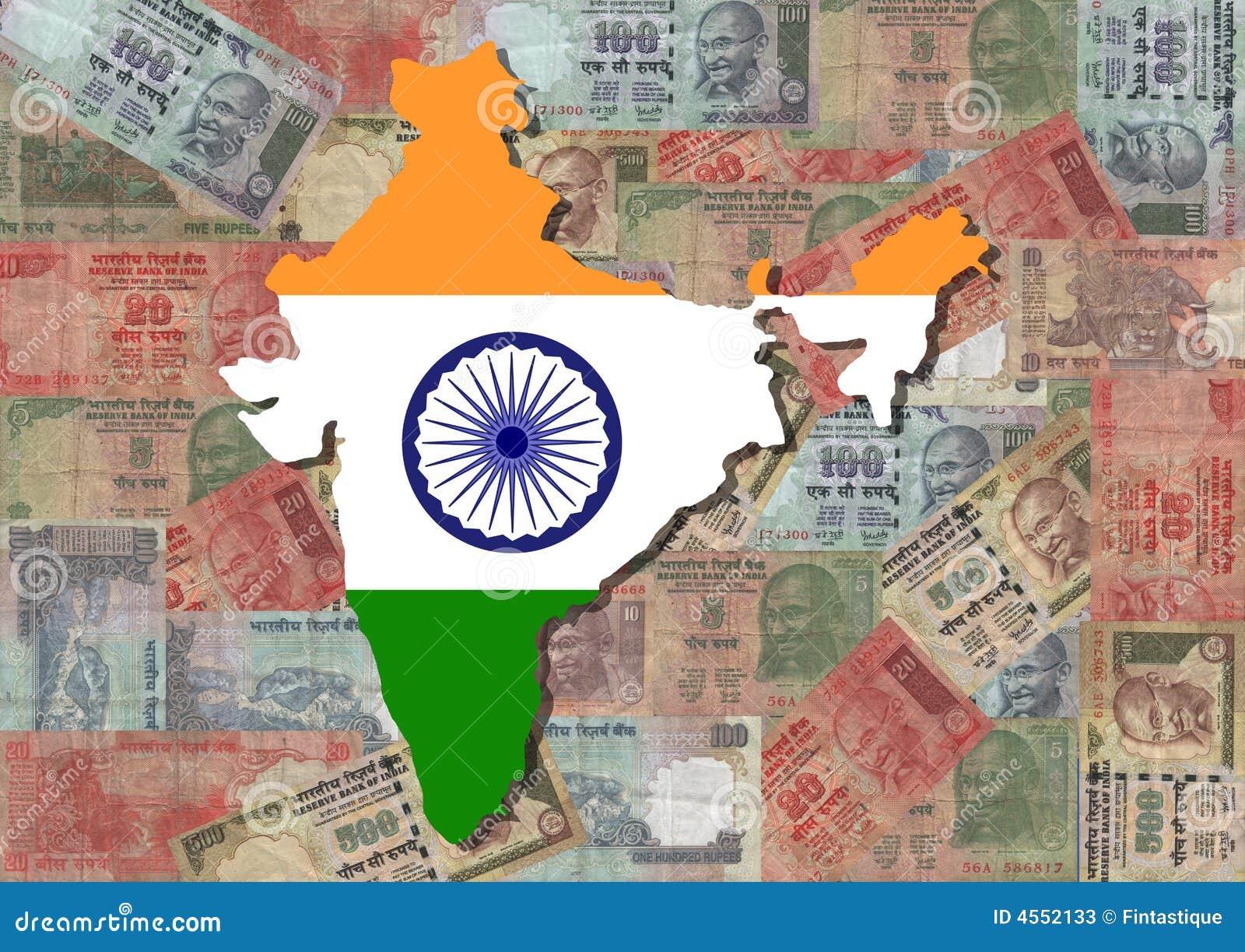 Kaart van India met Roepies