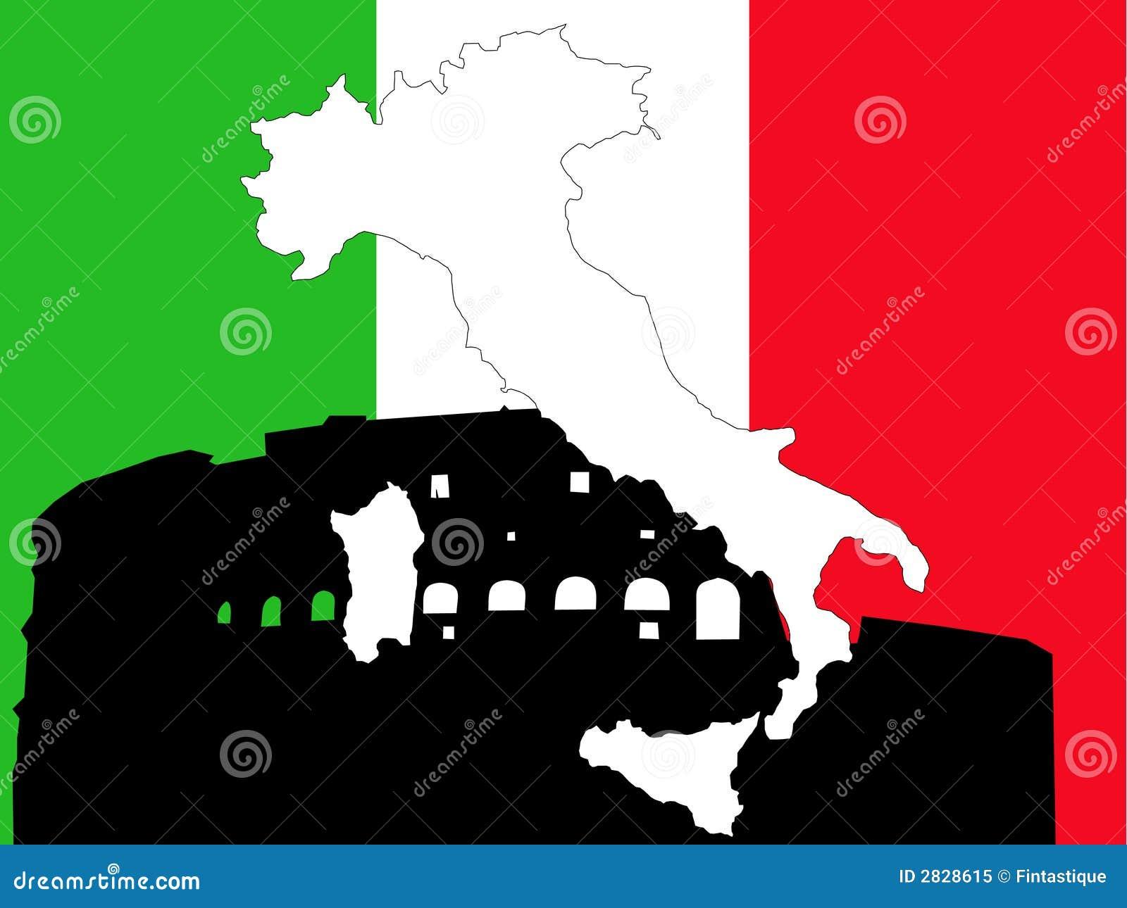 Kaart van Italië op Italiaanse vlag