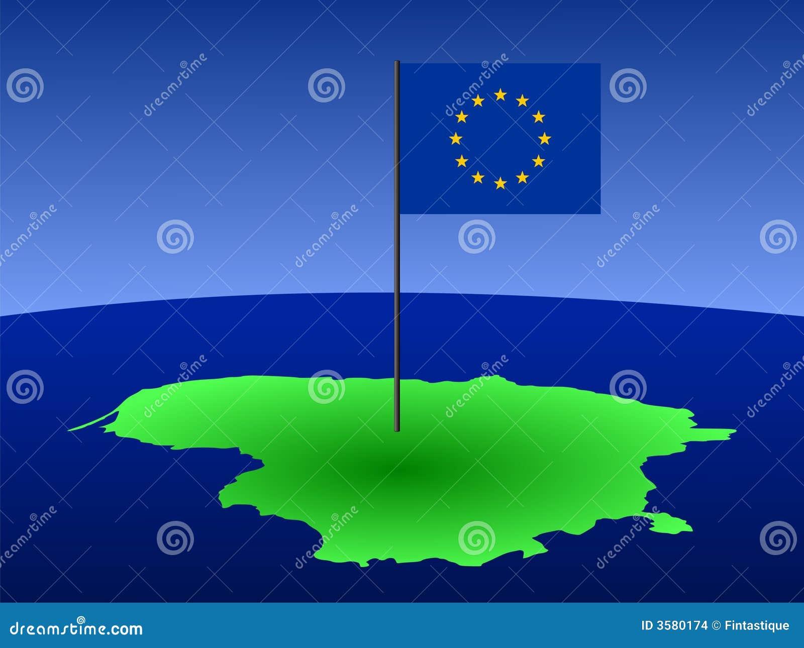 Kaart van Litouwen met vlag