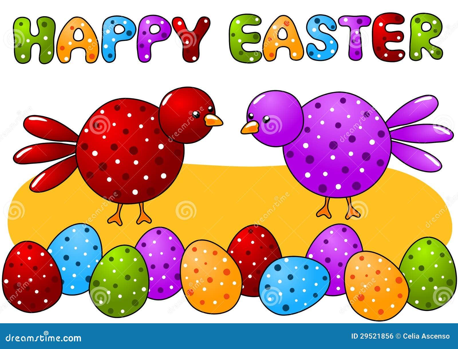 Kaart van Pasen van vogels en van de Eieren van de Stip de Gelukkige