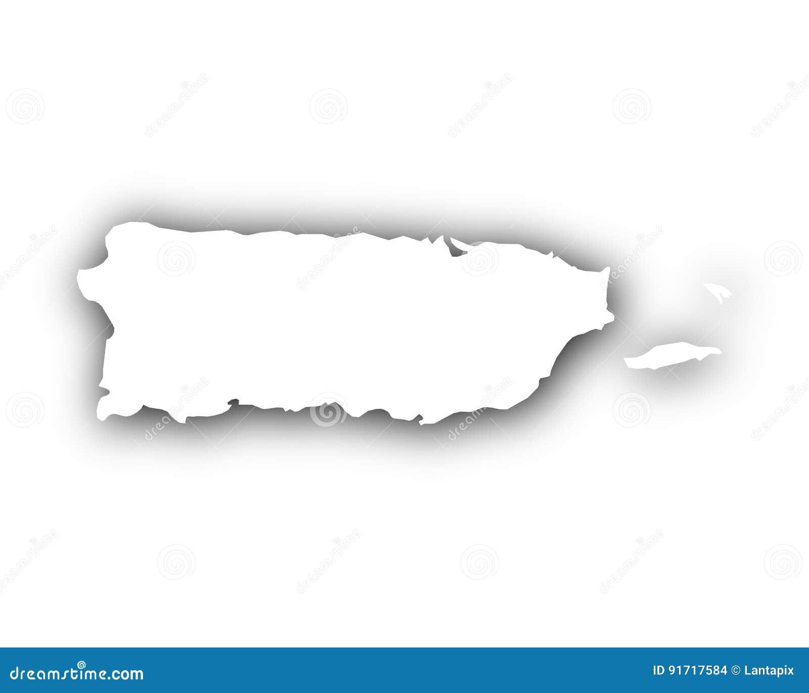 Kaart van Puerto Rico met schaduw