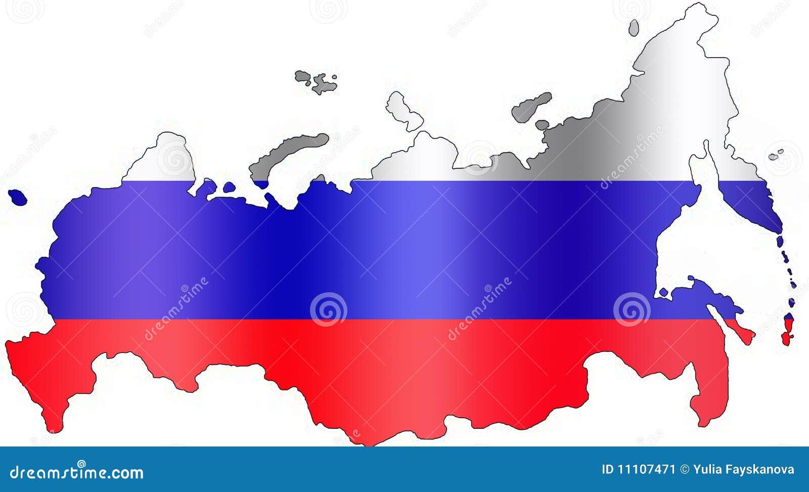 Kaart van rusland met vlagkleuren op witte achtergrond