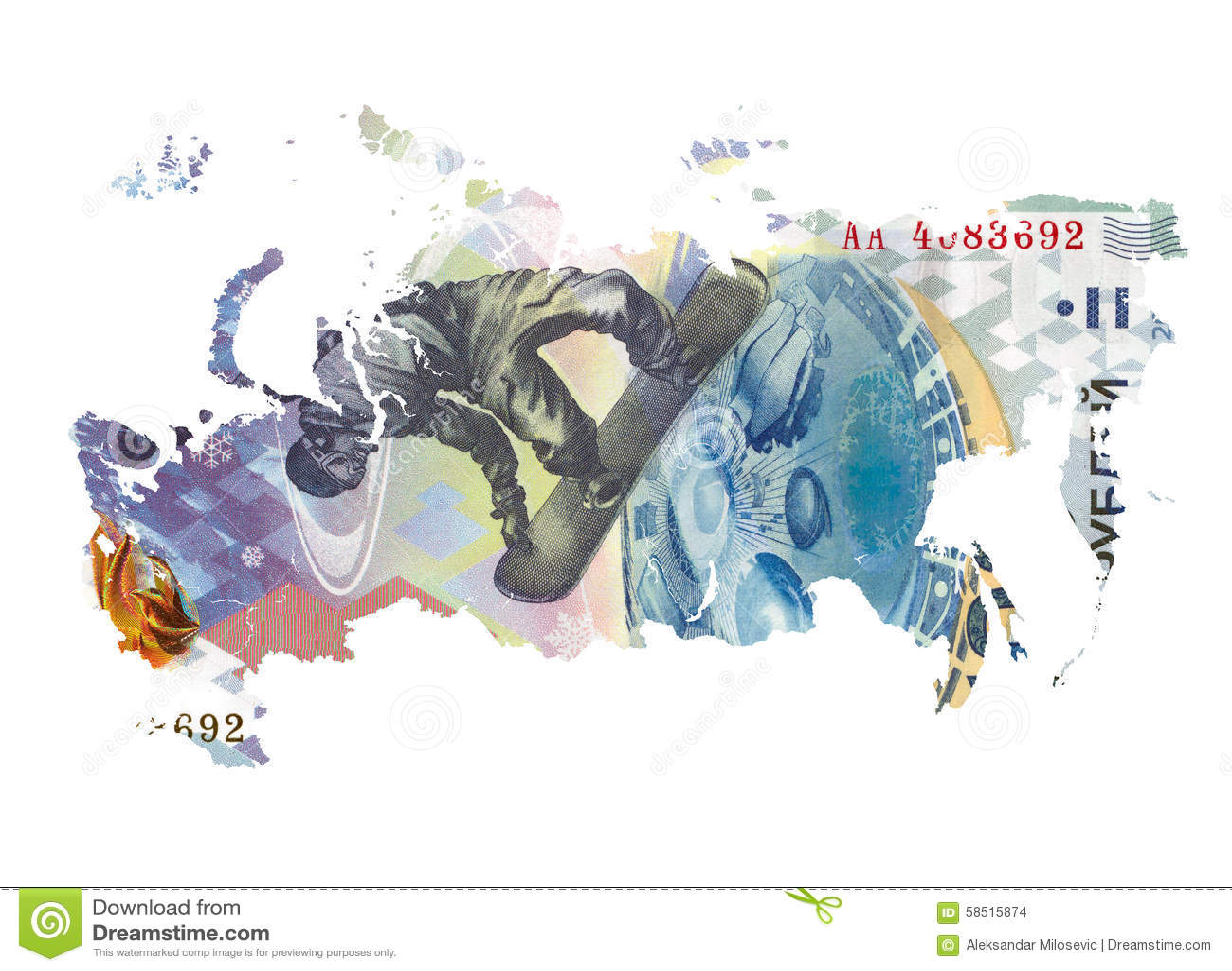 Kaart van Rusland van 100 Russisch roebelbankbiljet dat wordt gemaakt