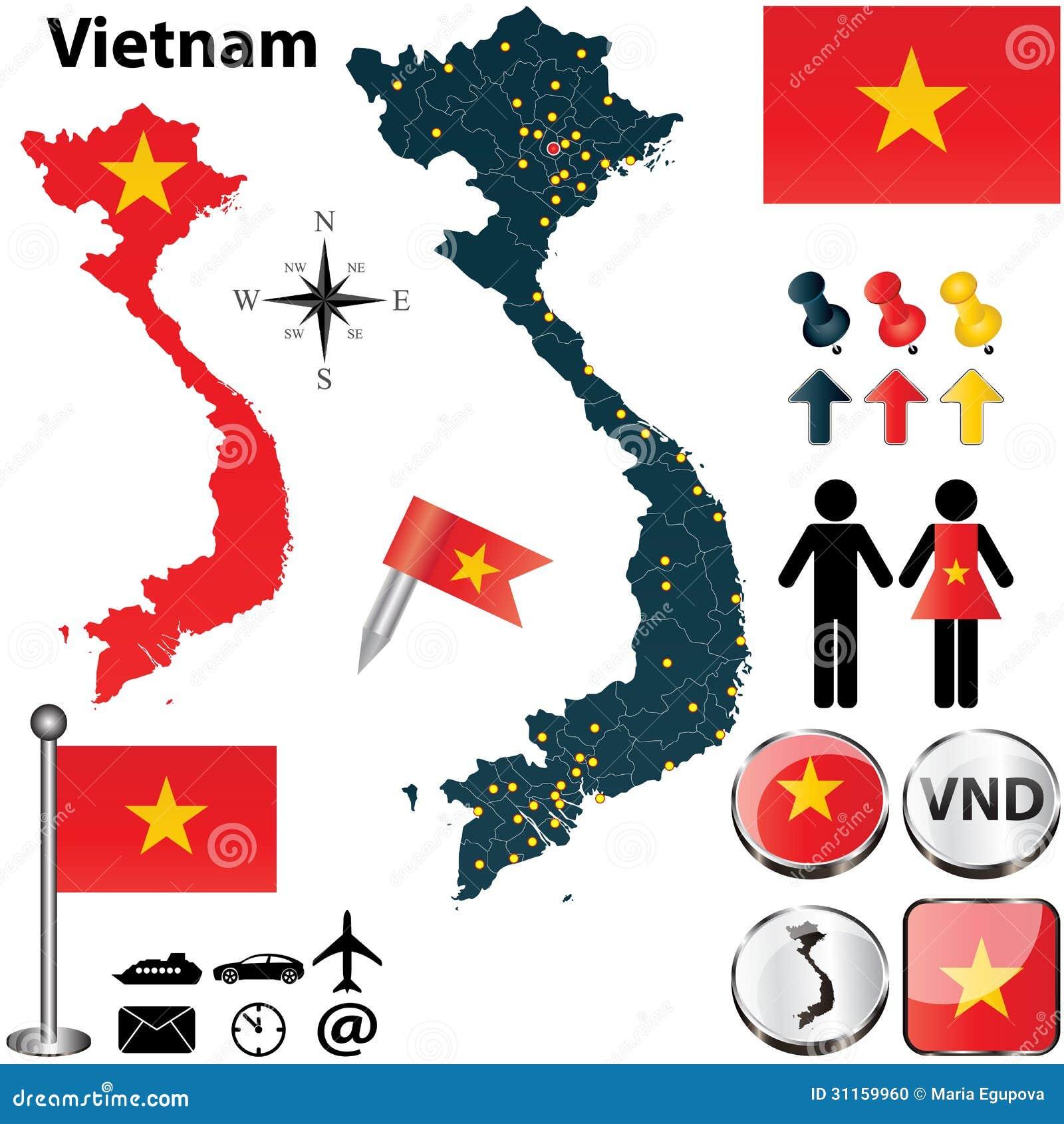 Kaart Van Vietnam Vector Illustratie. Illustratie
