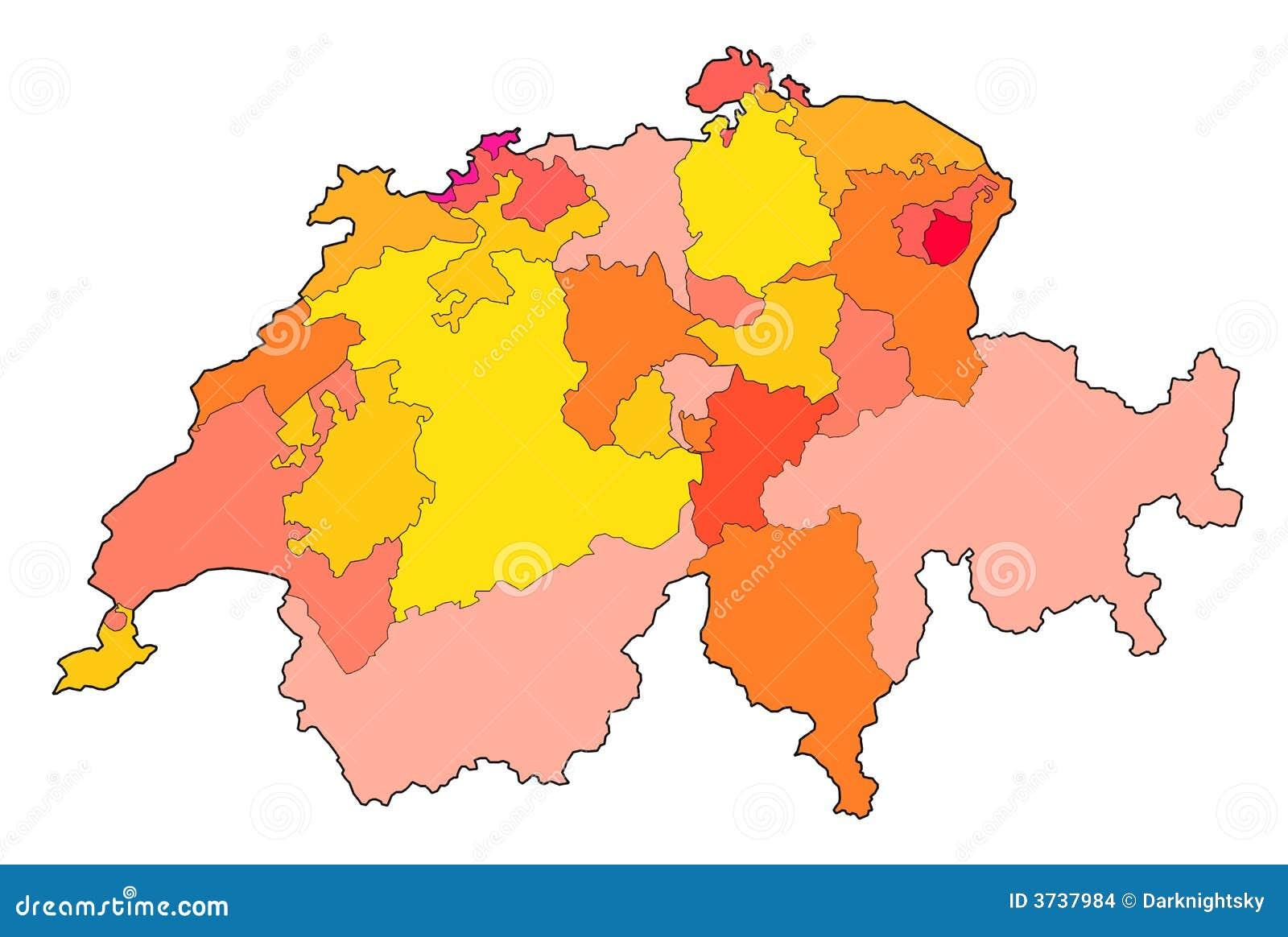 Kaart Van Zwitserland Stock Illustratie Illustratie Bestaande Uit