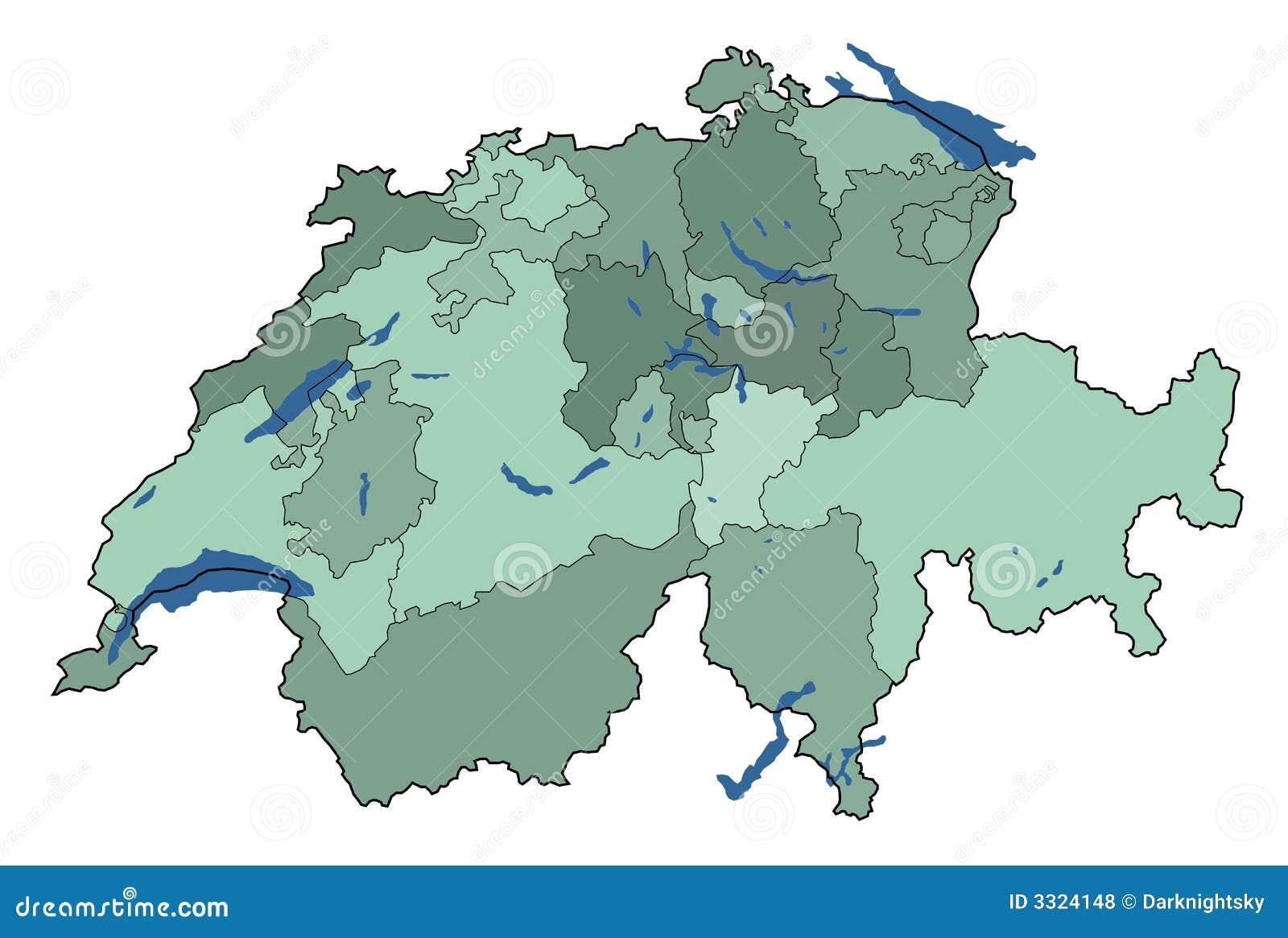 Kaart Van Zwitserland Met Meren Stock Illustratie Illustratie