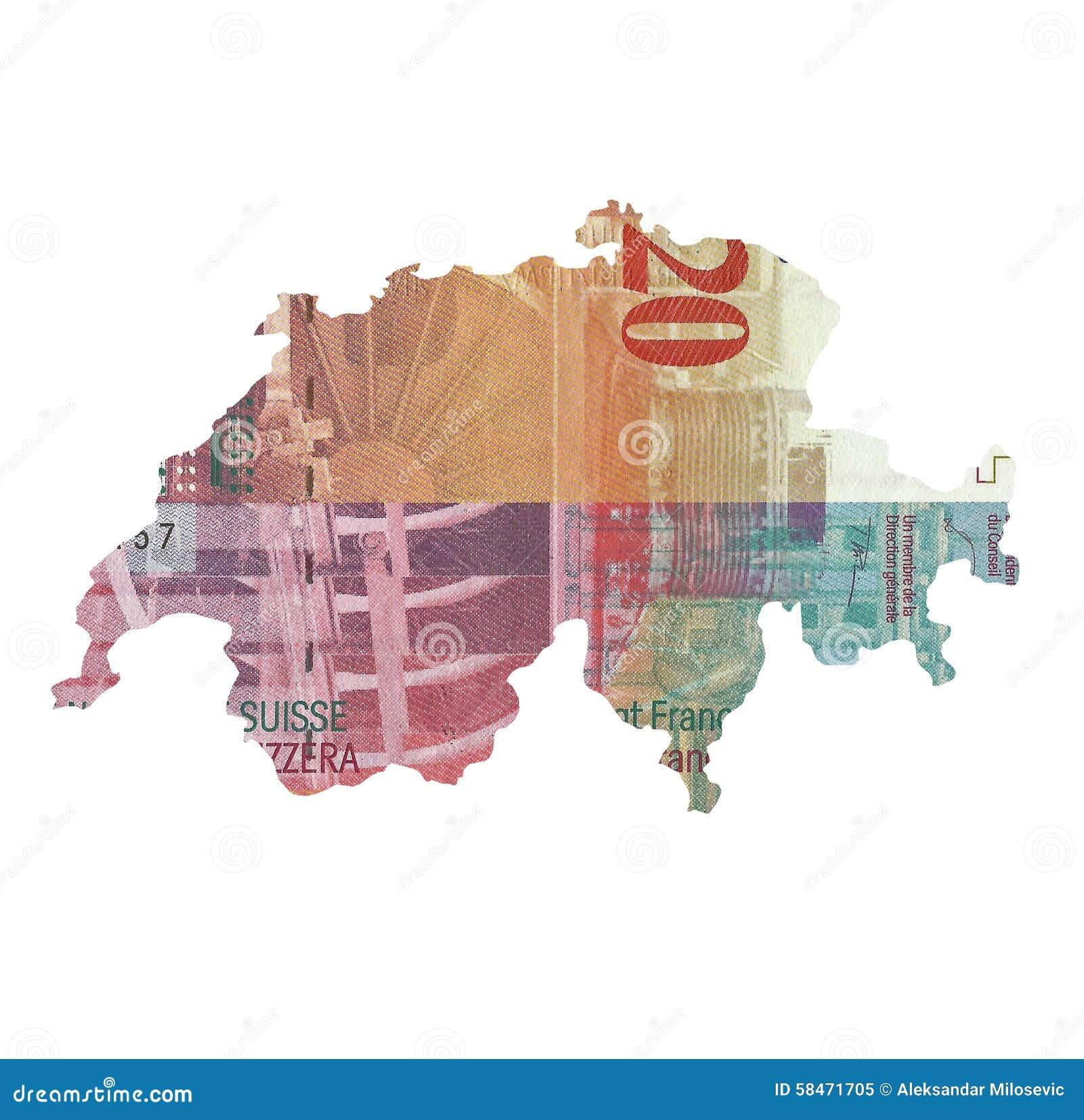 Kaart van Zwitserland van 20 franknota die wordt gemaakt