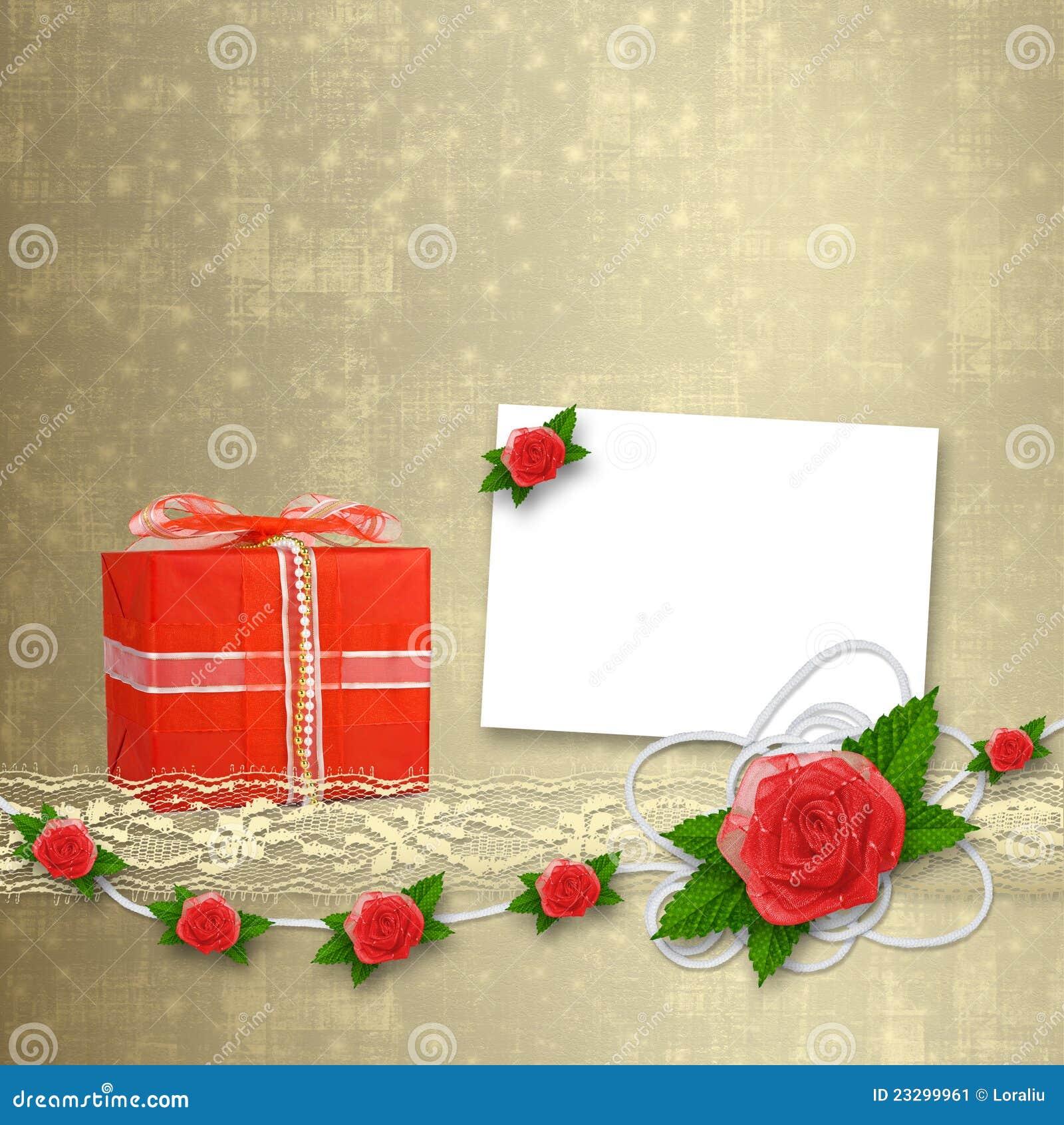 Kaart voor uitnodiging met knoopsgat en kant