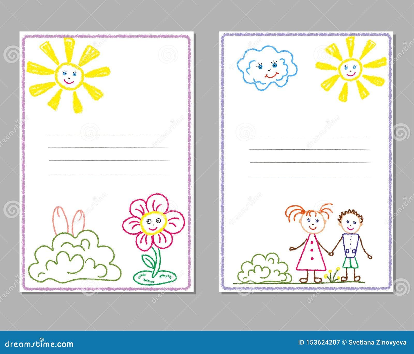 Kaarten met het potloodtekeningen van kinderen, met het beeld van de zon, kinderen, bloemen, vriendschap