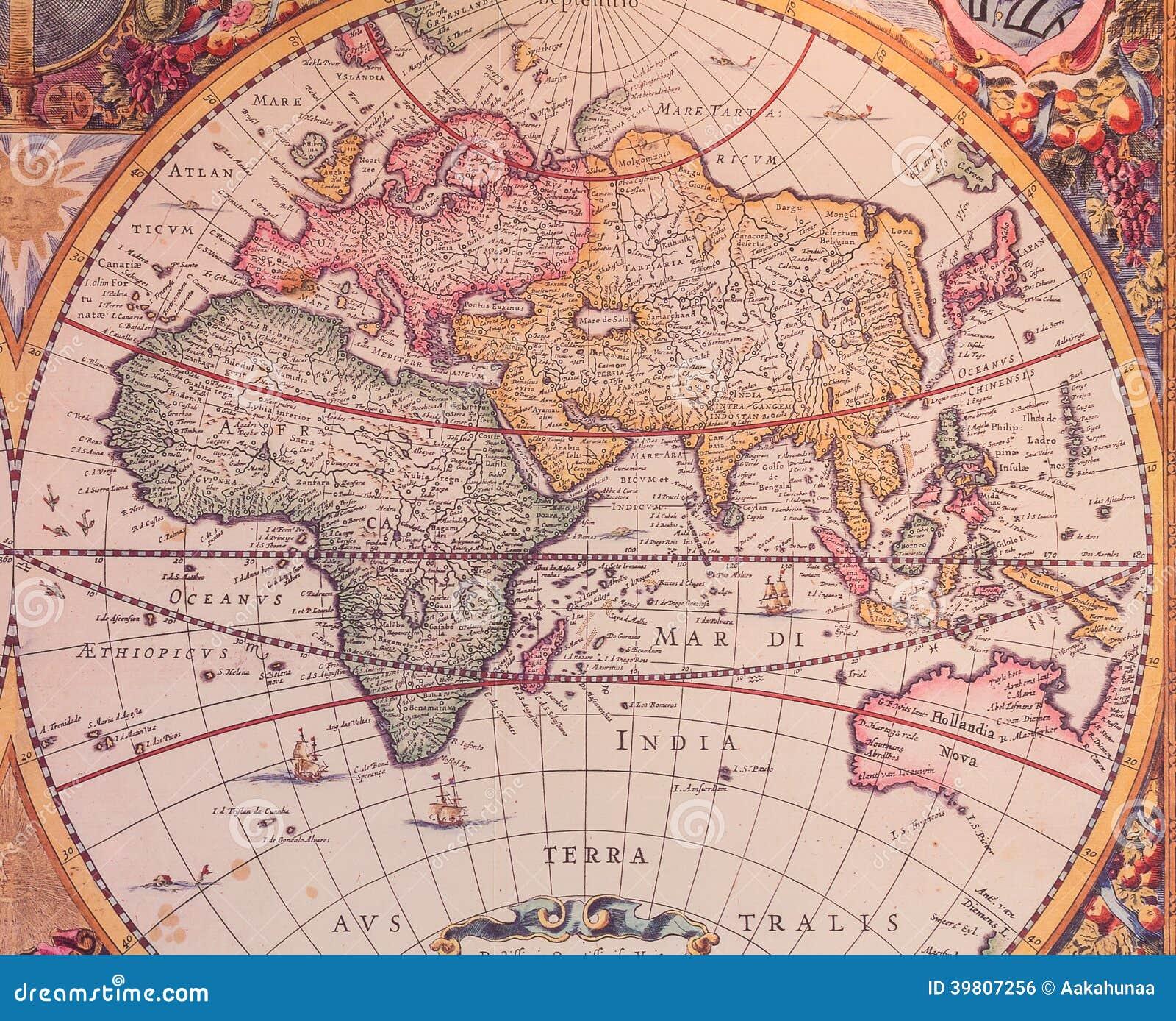 Kaarten van de oude wereld stock illustratie afbeelding 39807256 - Lamppost huizen van de wereld ...