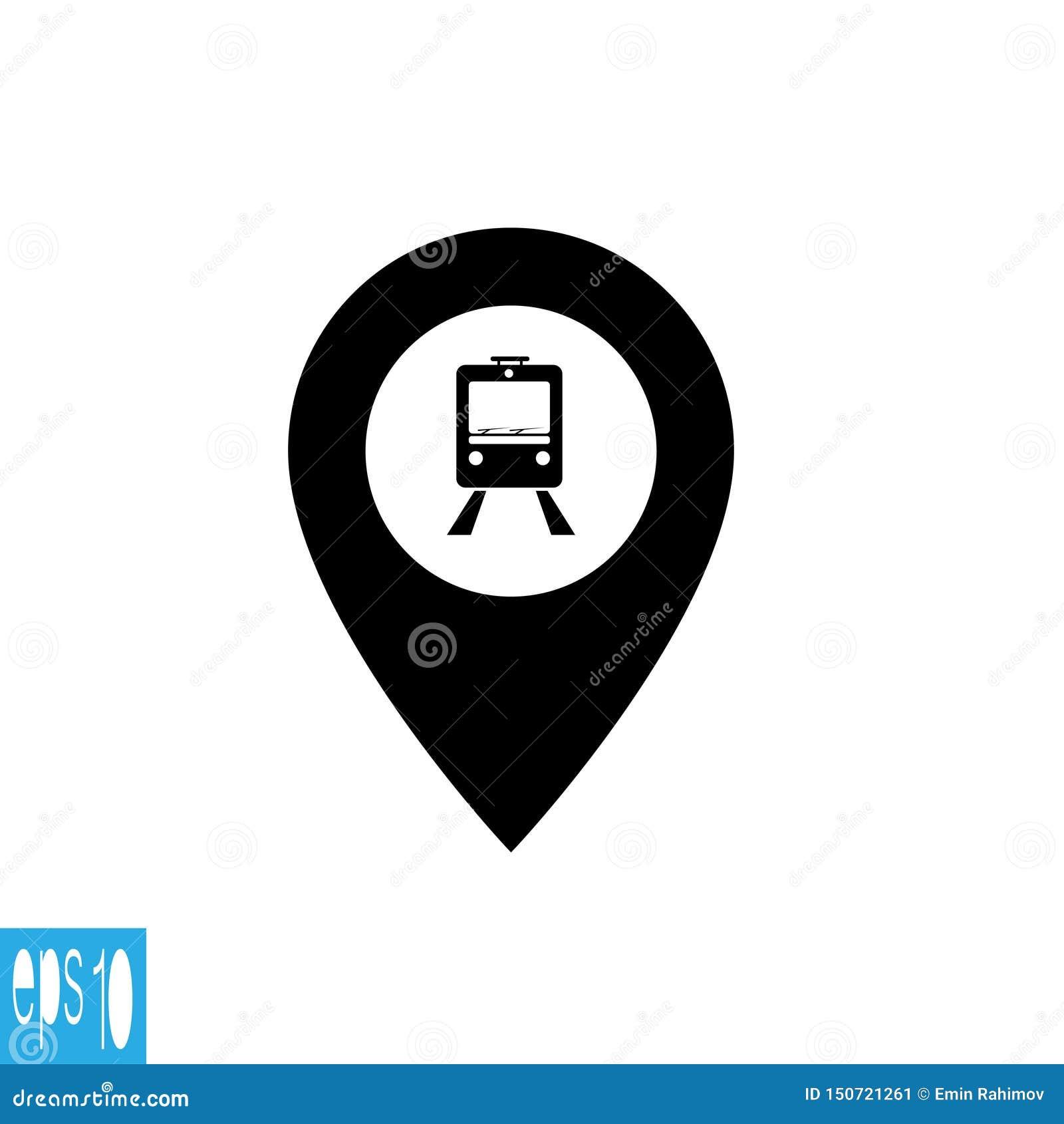 Kaartpictogram met trein, karretje - vectorillustratie