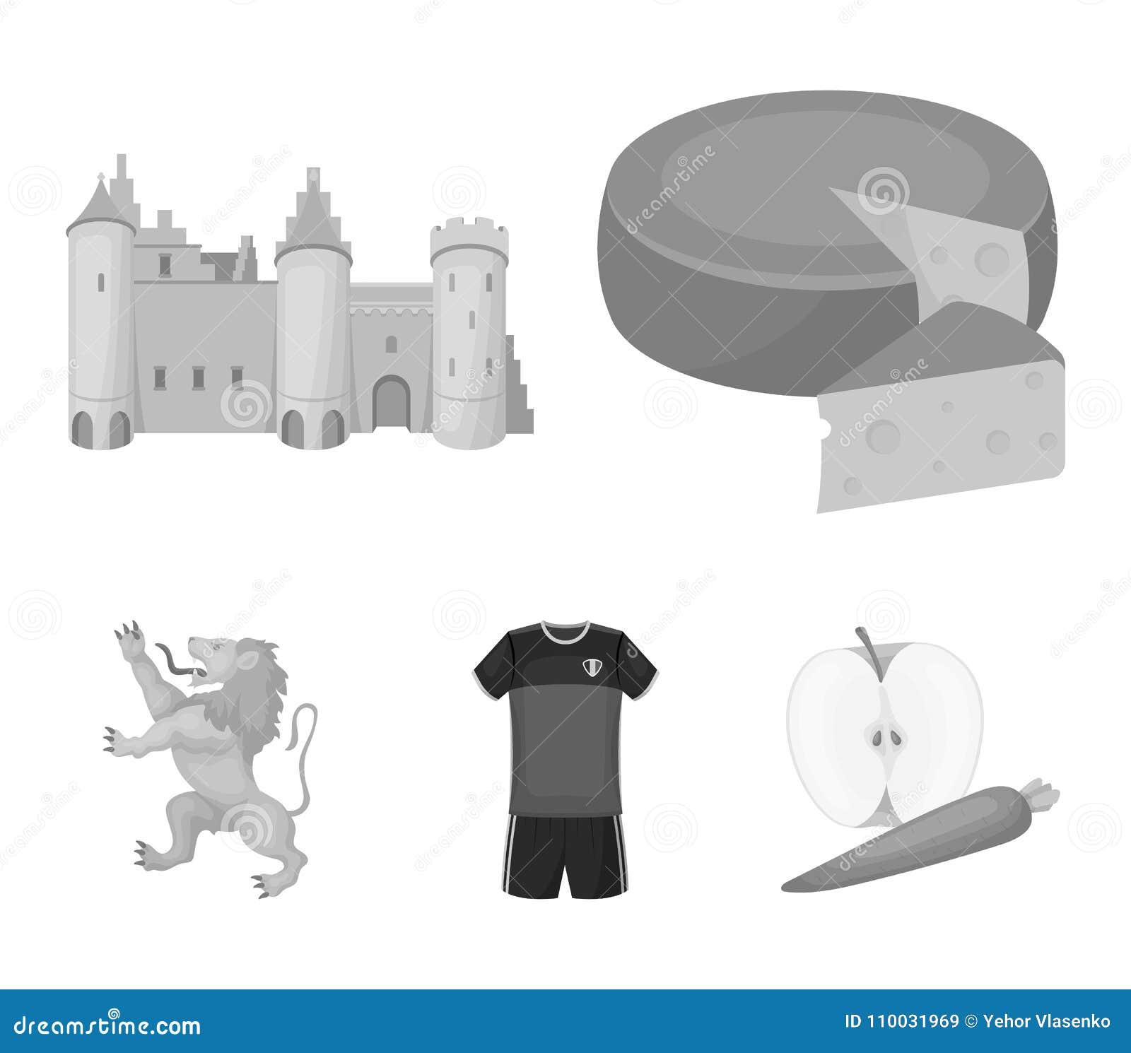 Kaas, leeuw en andere symbolen van het land Vastgestelde de inzamelingspictogrammen van België in de zwart-wit voorraad van het s