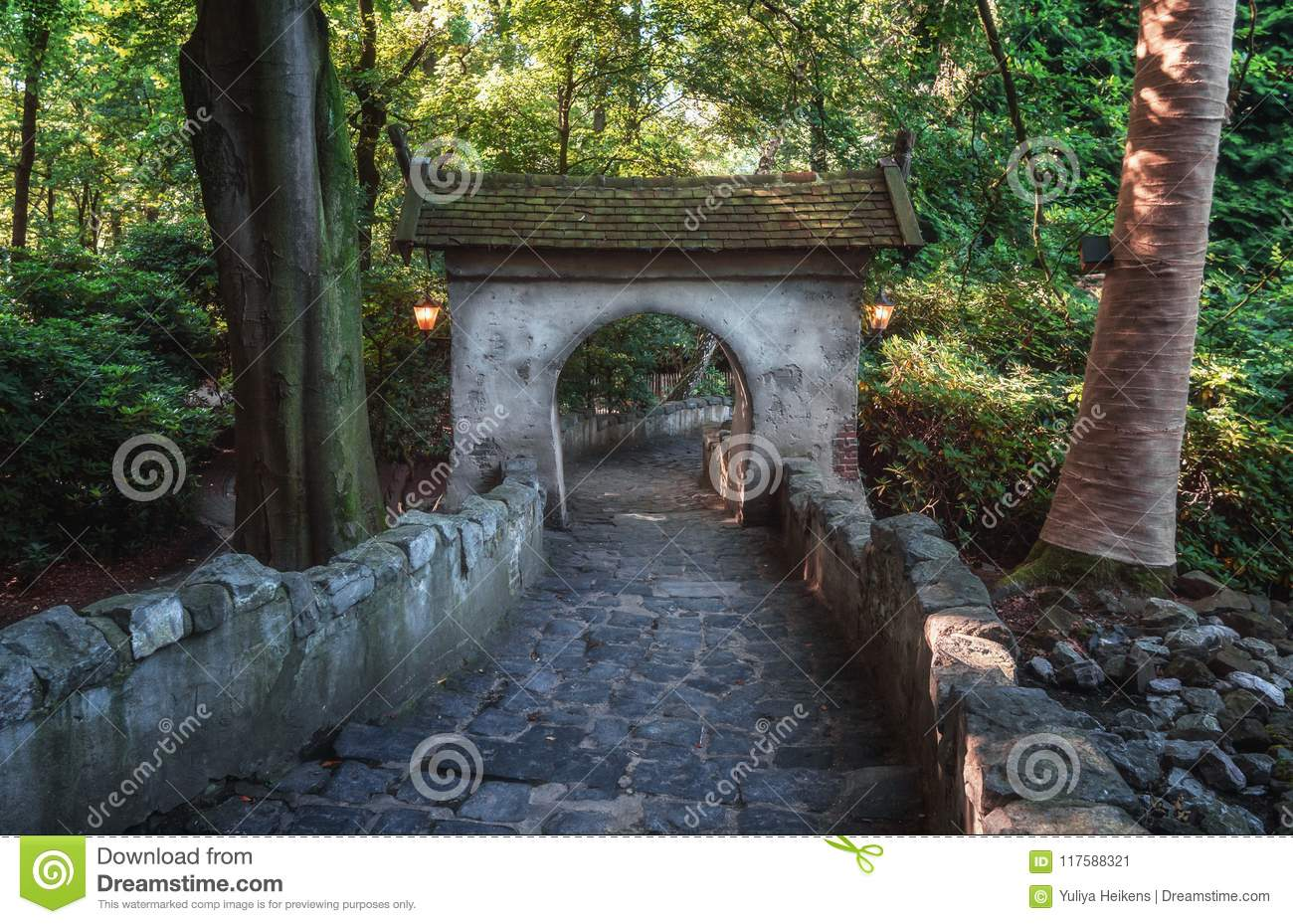The entrance gate to the castle of Sleeping Beauty in the fairytale forest in the theme park Efteling