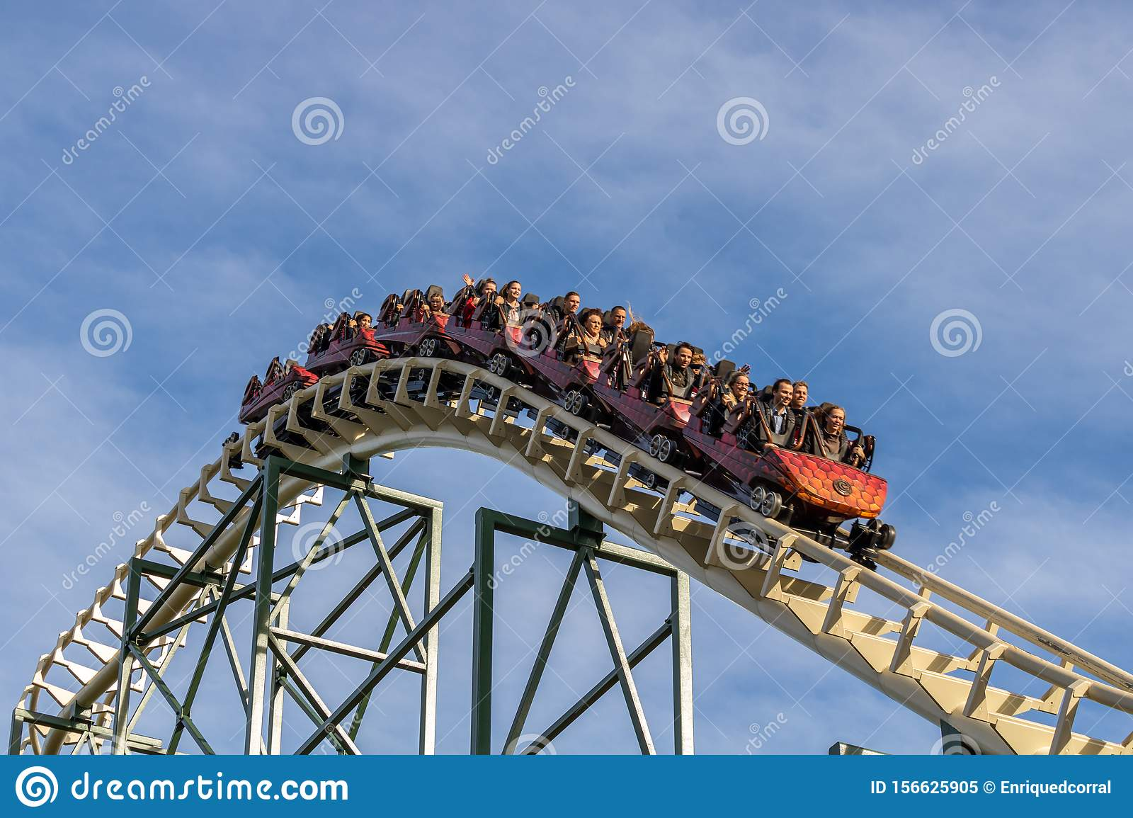 KAATSHEUVEL, The Netherlands. - November 6, 2018: People screaming and having fun in a roller coaster in The Efteling Called: