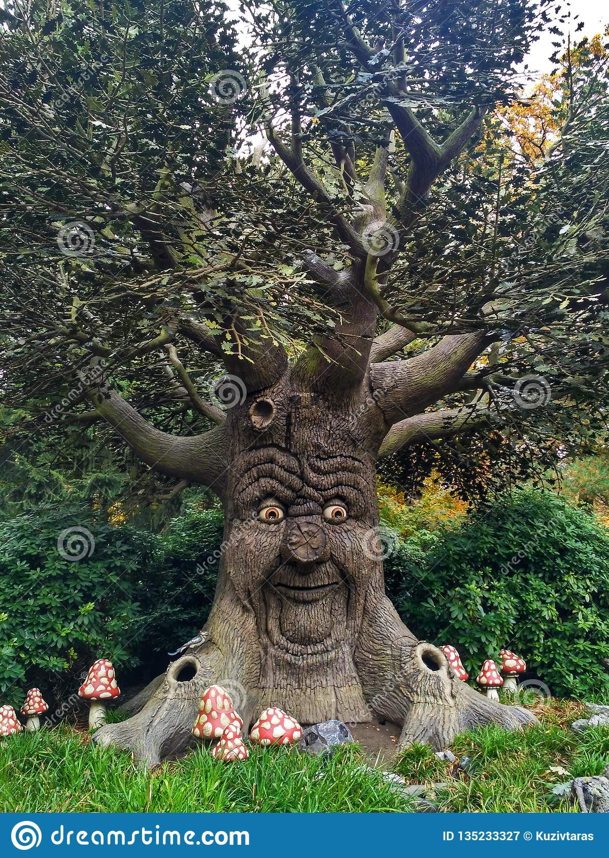 Kaatsheuvel / The Netherlands - November 03 2016: Speaking fairytale tree in Theme Park Efteling