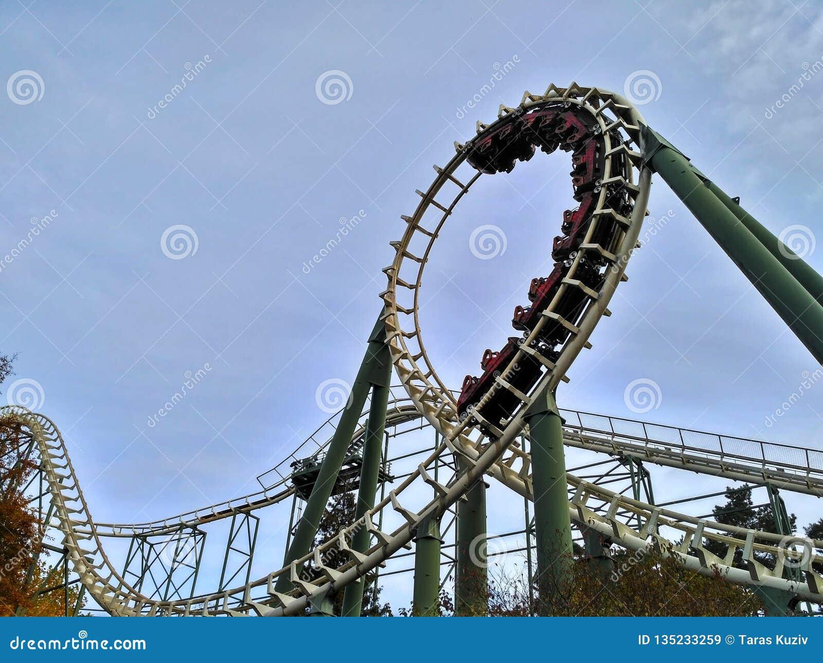 Kaatsheuvel / The Netherlands - November 03 2016: Speed roller coaster Python in action in Theme Park Efteling