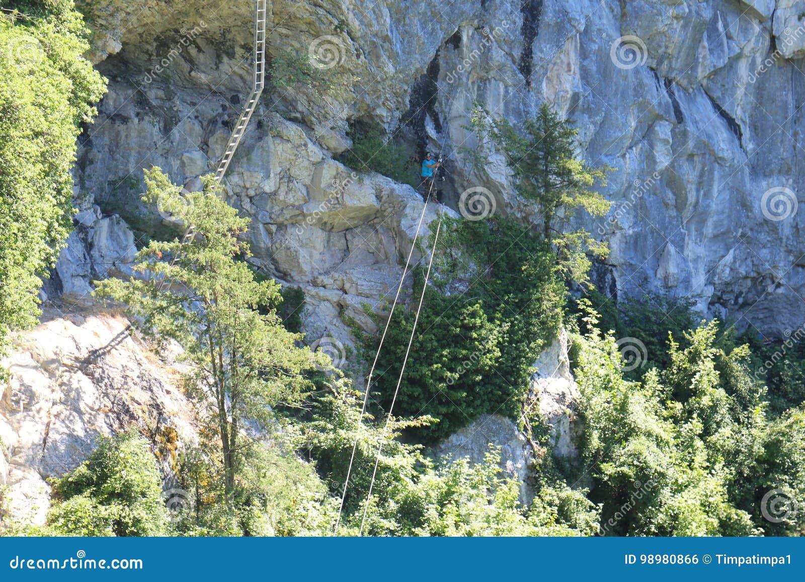 Klettersteig Leiter : Kabelbrücke und leiter in trattenbacher klettersteig