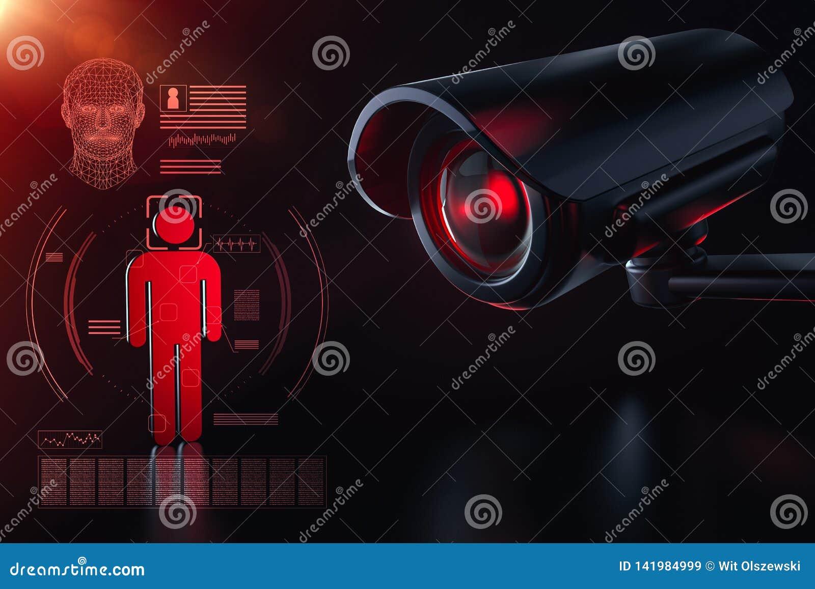 Kabeltelevisie controleert informatie over burger in het concept van het toezichtveiligheidssysteem De grote broer let op u conce