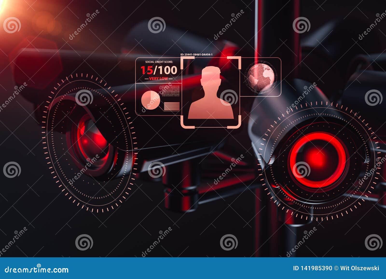 Kabeltelevisie controleert informatie over burger in toezichtveiligheidssysteem, het sociale concept van het kredietsysteem het 3