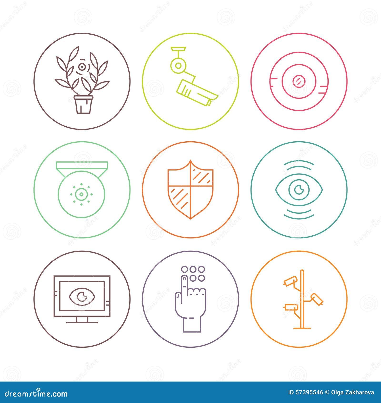 Kabeltelevisie-pictogrammen in cirkels