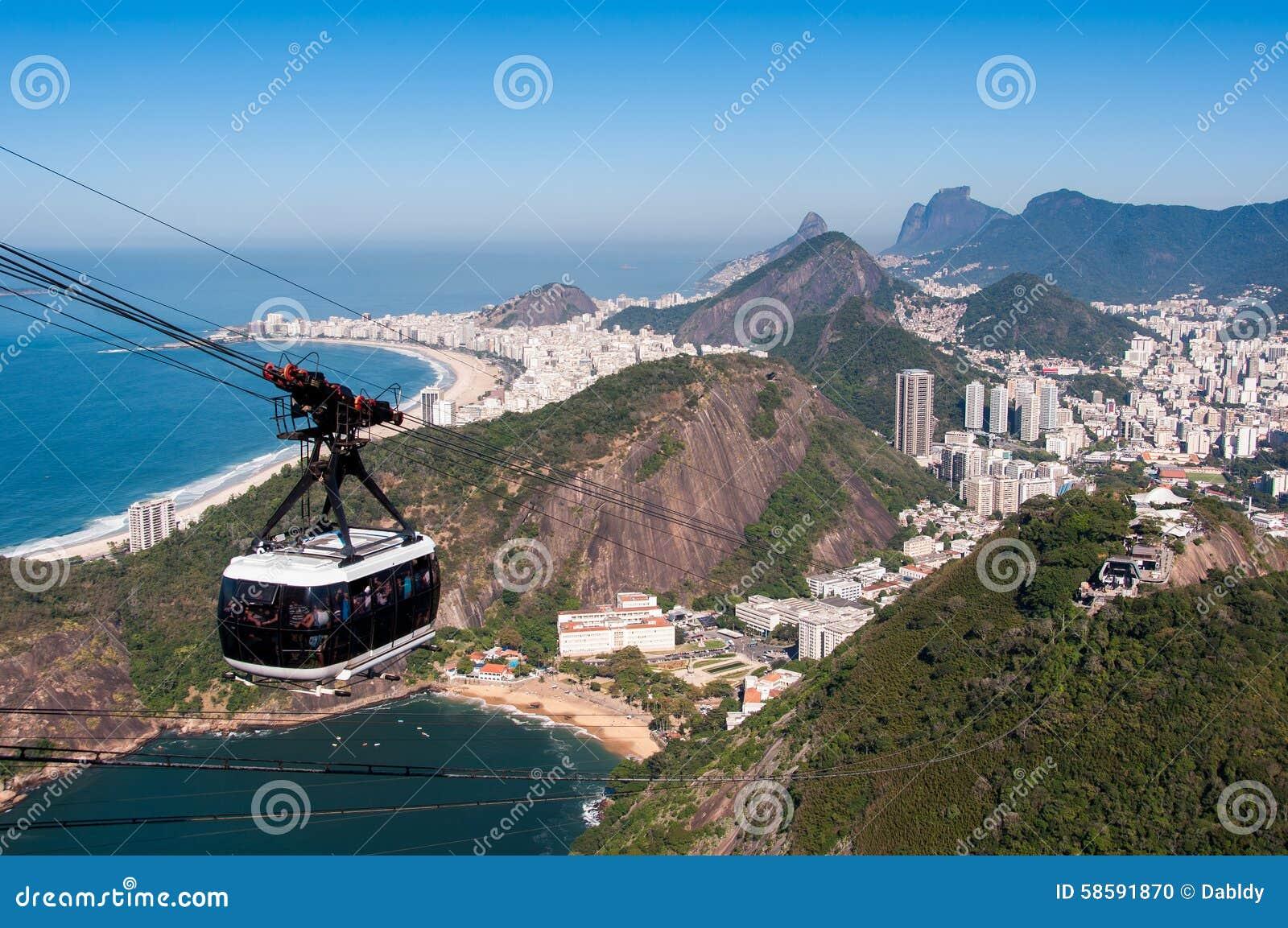 Kabelwagen aan de Sugarloaf-Berg in Rio de Janeiro