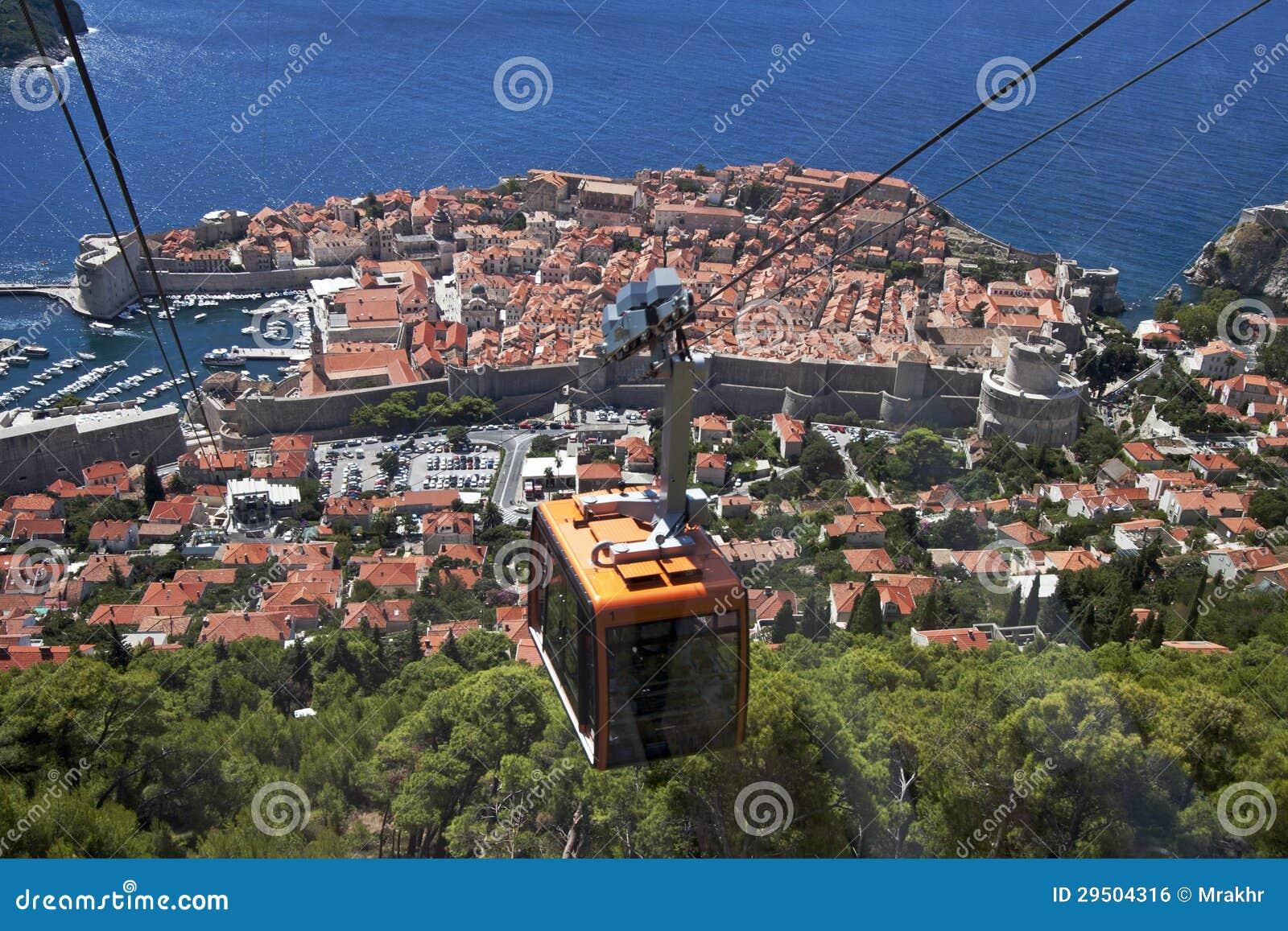 Kabelwagen boven de oude stad Dubrovnik