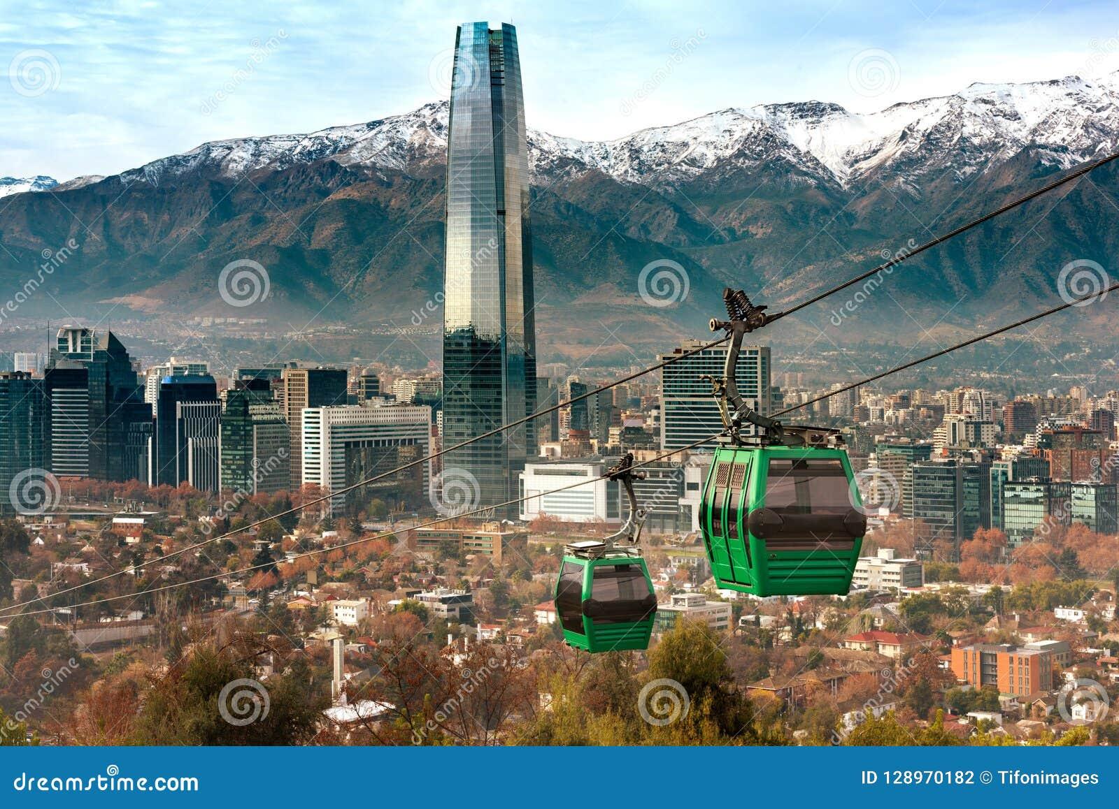 Kabelwagen in de heuvel van San Cristobal, die een panorama van Santiago overzien