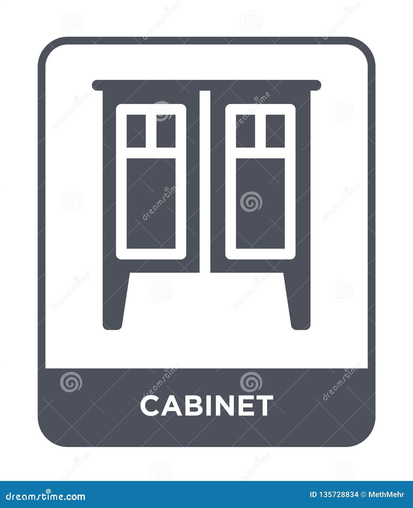 Kabinetspictogram in in ontwerpstijl Kabinetspictogram op witte achtergrond wordt geïsoleerd die eenvoudige en moderne vlakke sym