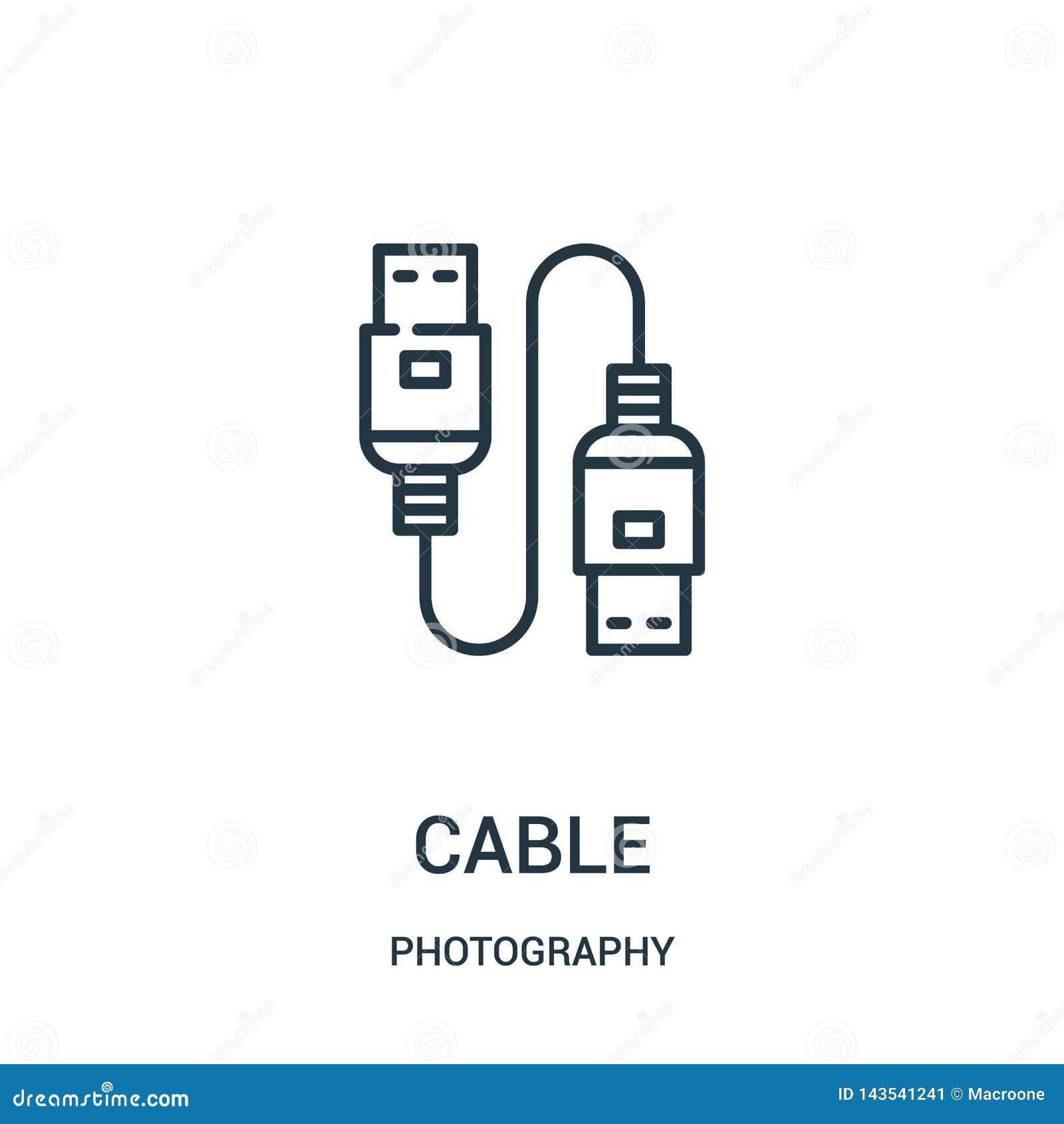 Kablowy ikona wektor od fotografii kolekcji Cienka linia kabla konturu ikony wektoru ilustracja