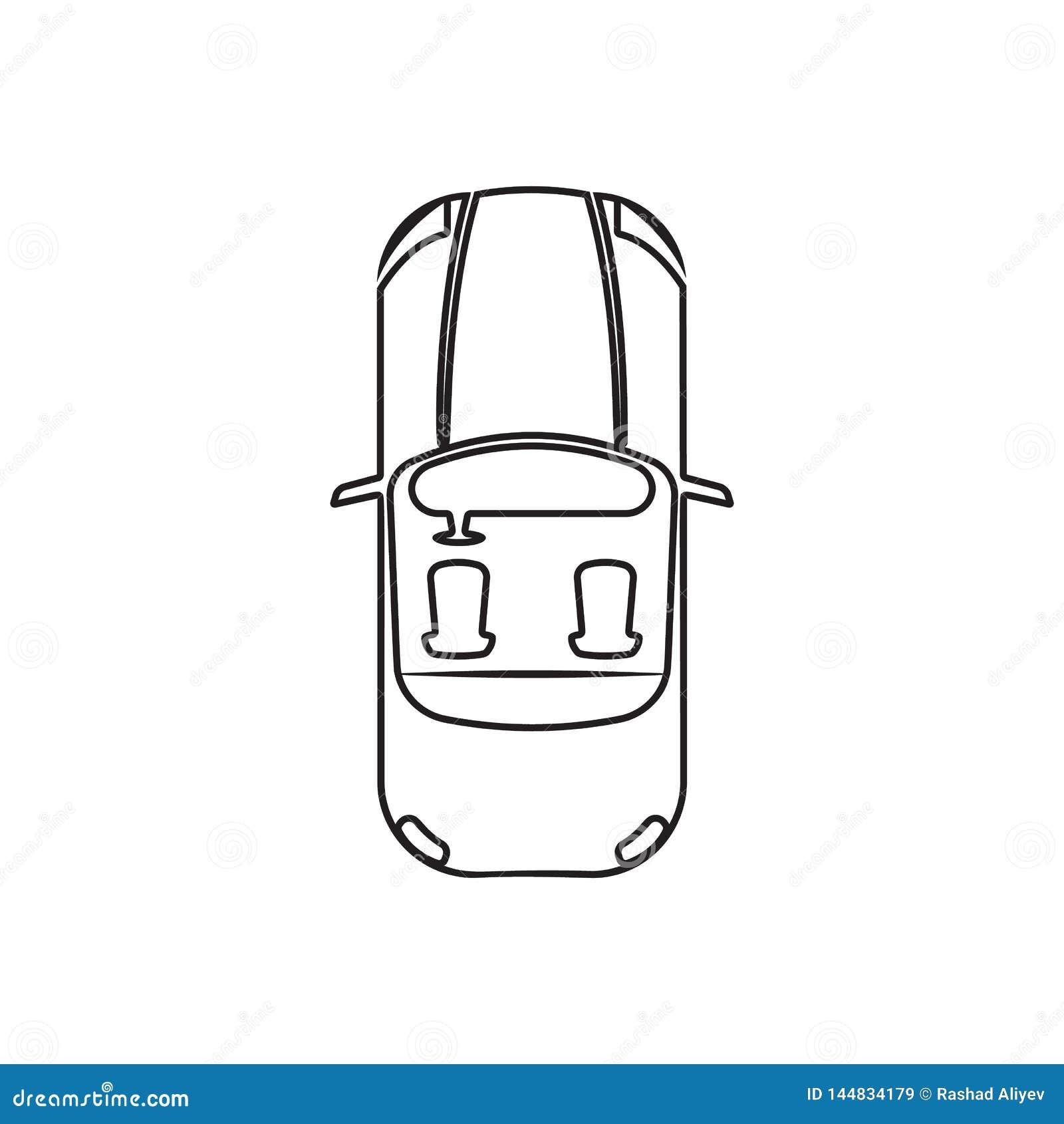 Kabriolet ikona Element Przewieziony widok dla mobilnego poj?cia i sieci apps ikony z g?ry Kontur, cienieje kreskow? ikon? dla st