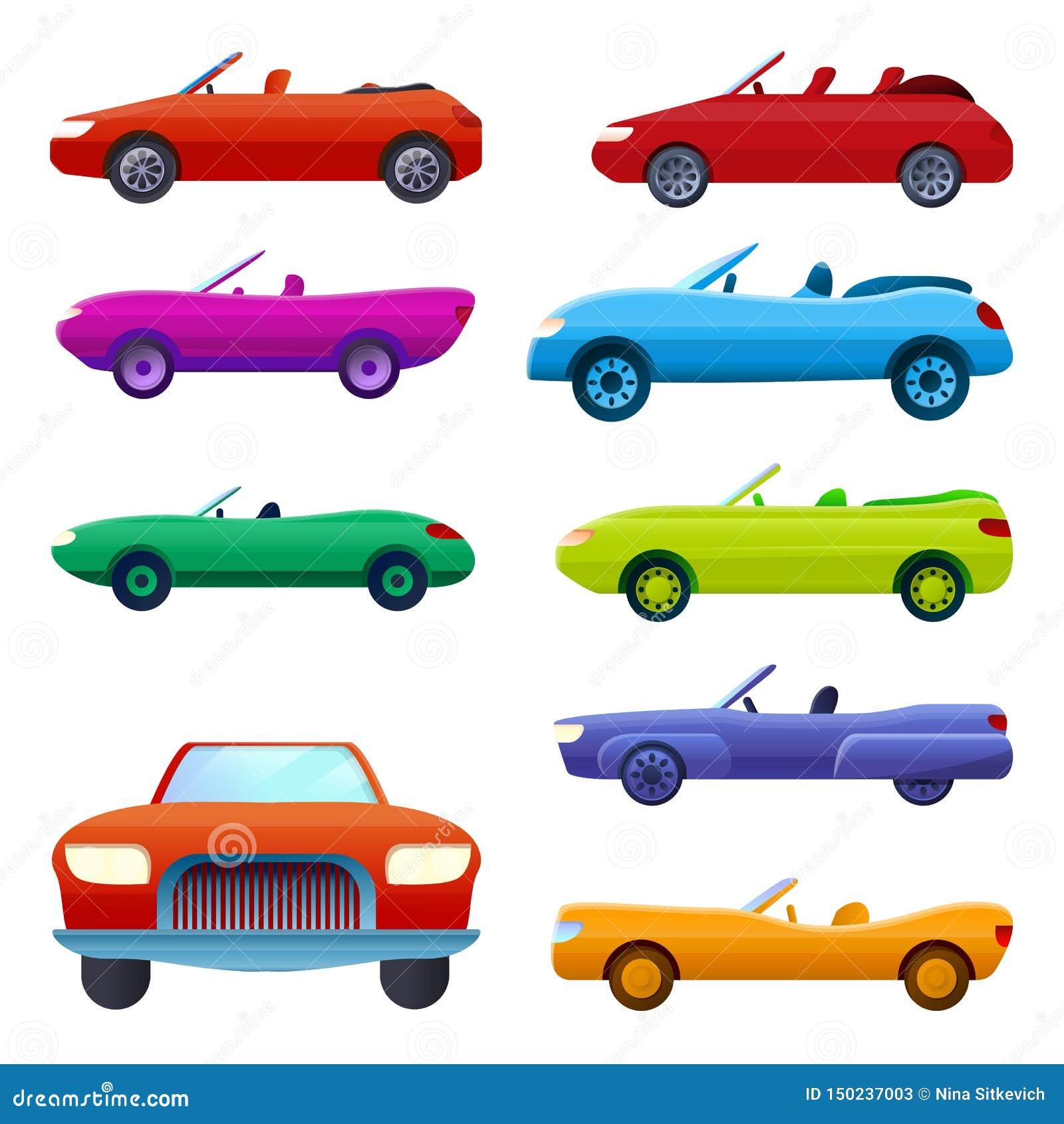 Kabriolet ikony ustawiać, kreskówka styl