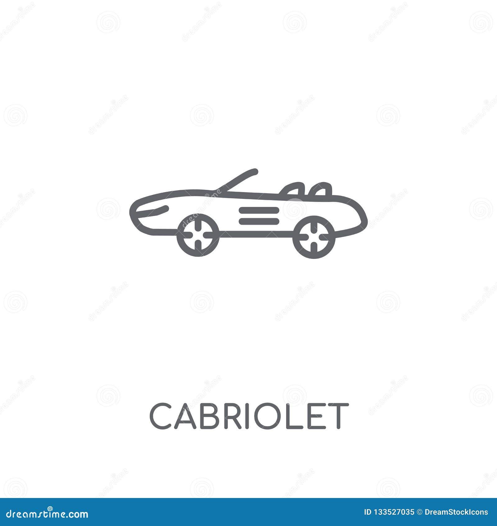 Kabriolet liniowa ikona Nowożytny konturu kabrioletu logo pojęcie dalej