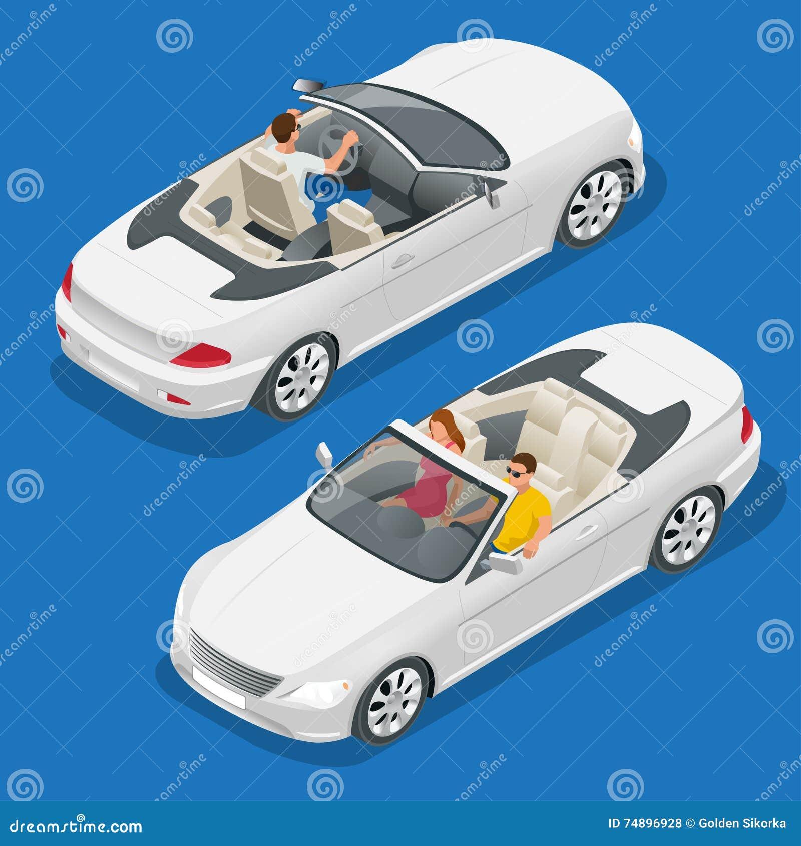 Kabriolet samochodowa isometric wektorowa ilustracja Płaski 3d kabrioletu wizerunek Transport dla lato podróży Sporta samochodu p
