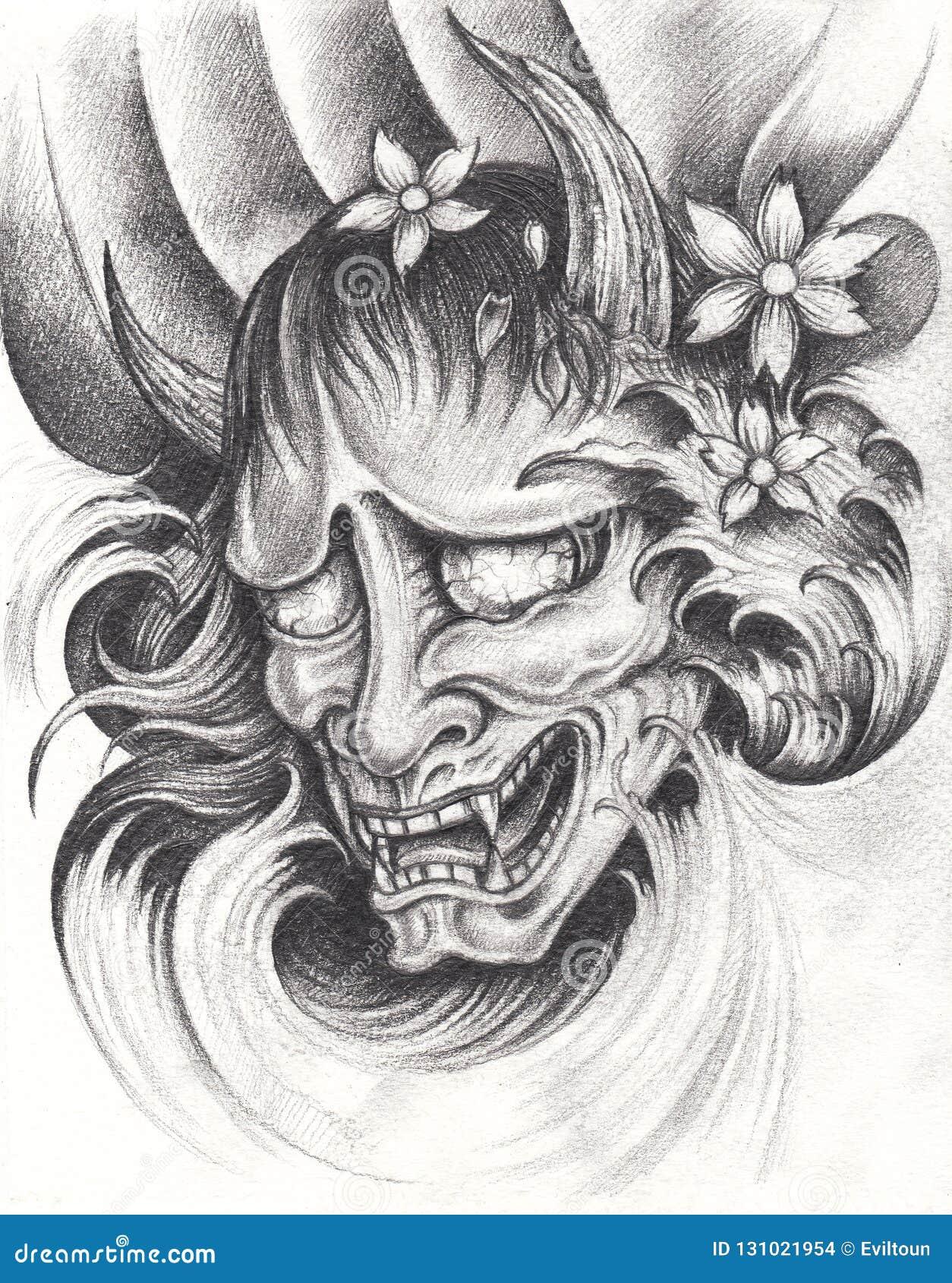 Kabuki Japoński tatuaż