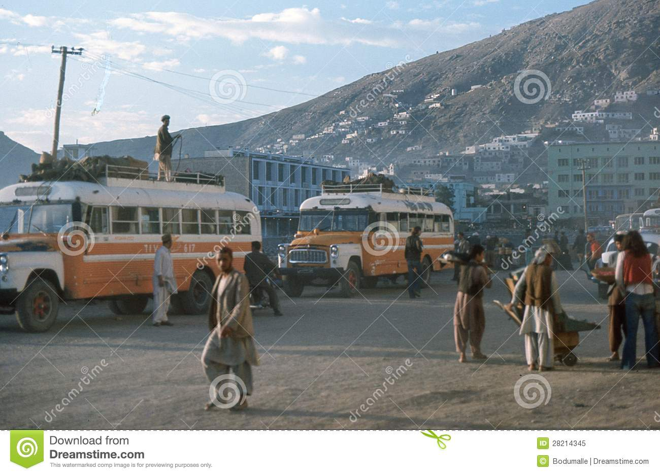 1975. Afghanistan. Bus station in Kabul.