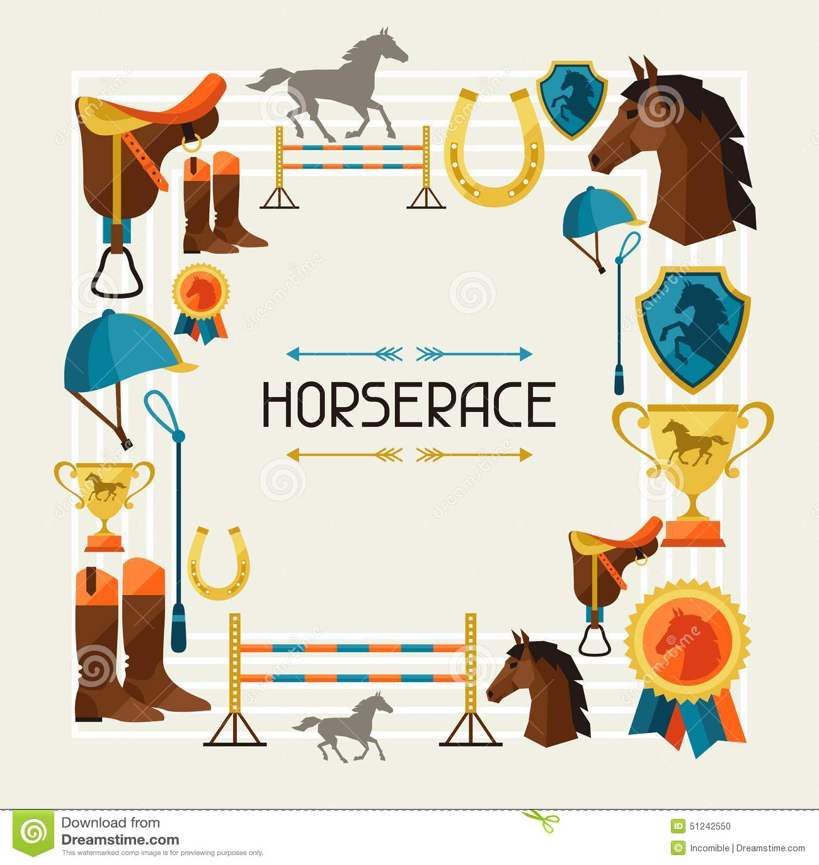 Kader met paardmateriaal in vlakke stijl