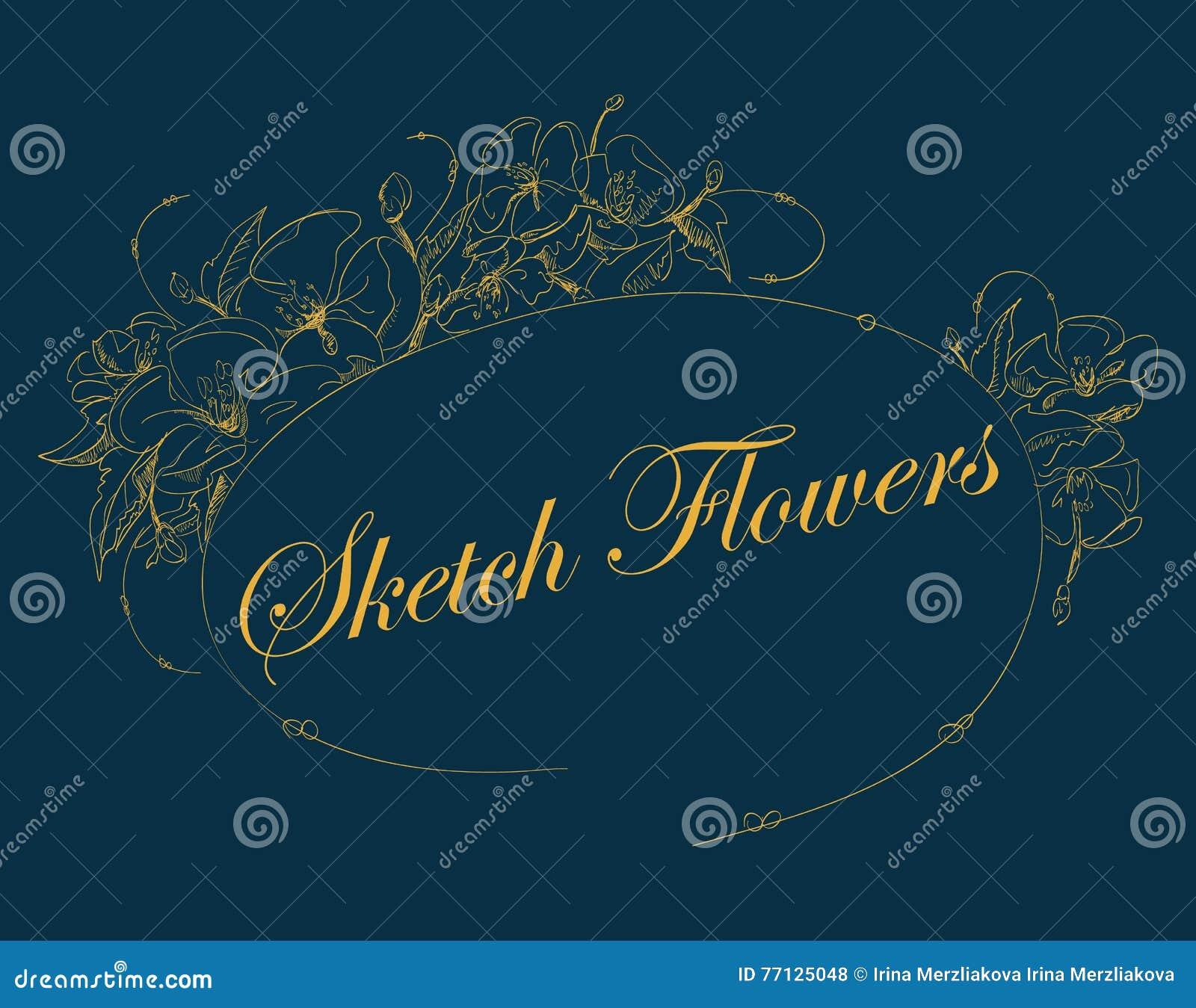 Kader van bloemenschets Vector