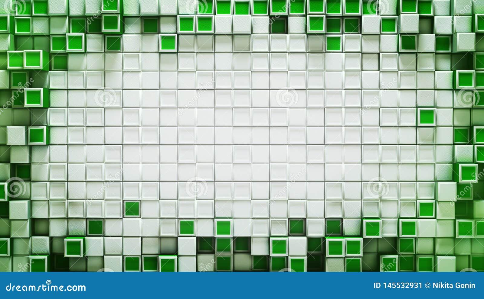 Kader van groene 3D kubussen abstracte achtergrond met beschikbare ruimte