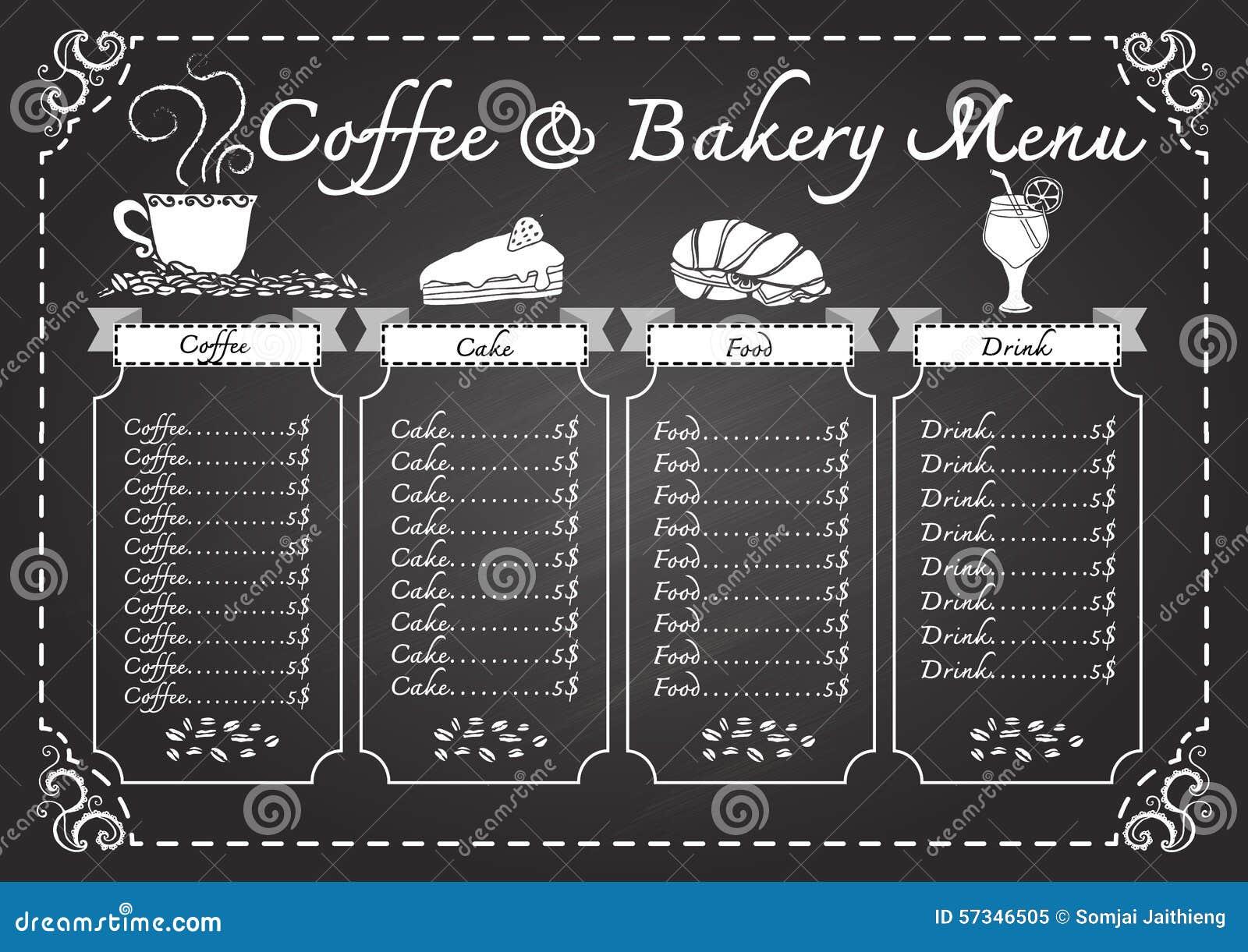 Kaffe- och bagerimeny på svart tavlamall