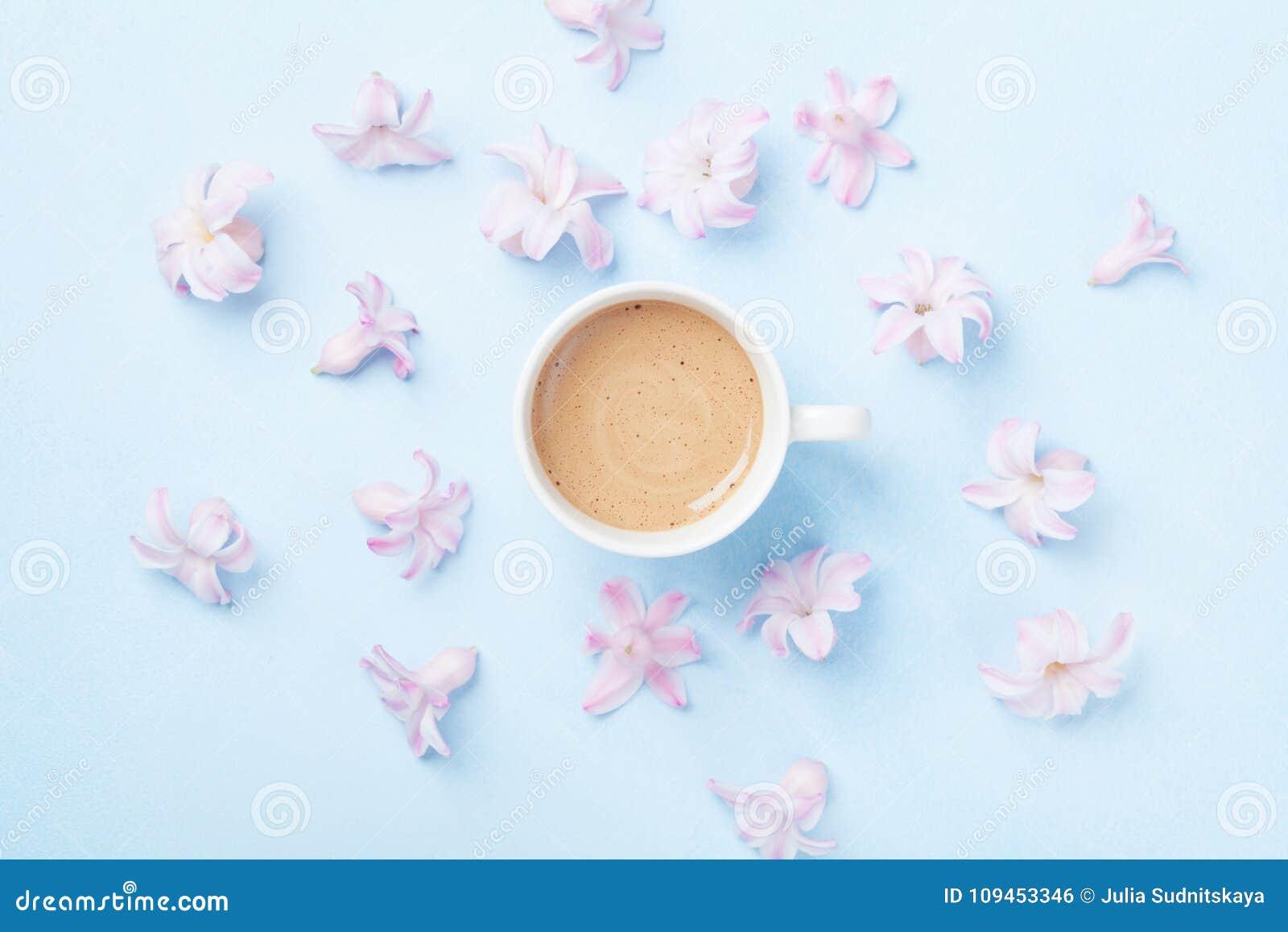Kaffe och rosa färgen blommar på bästa sikt för blå pastellfärgad bakgrund Idérik och modesammansättning lekmanna- stil för lägen