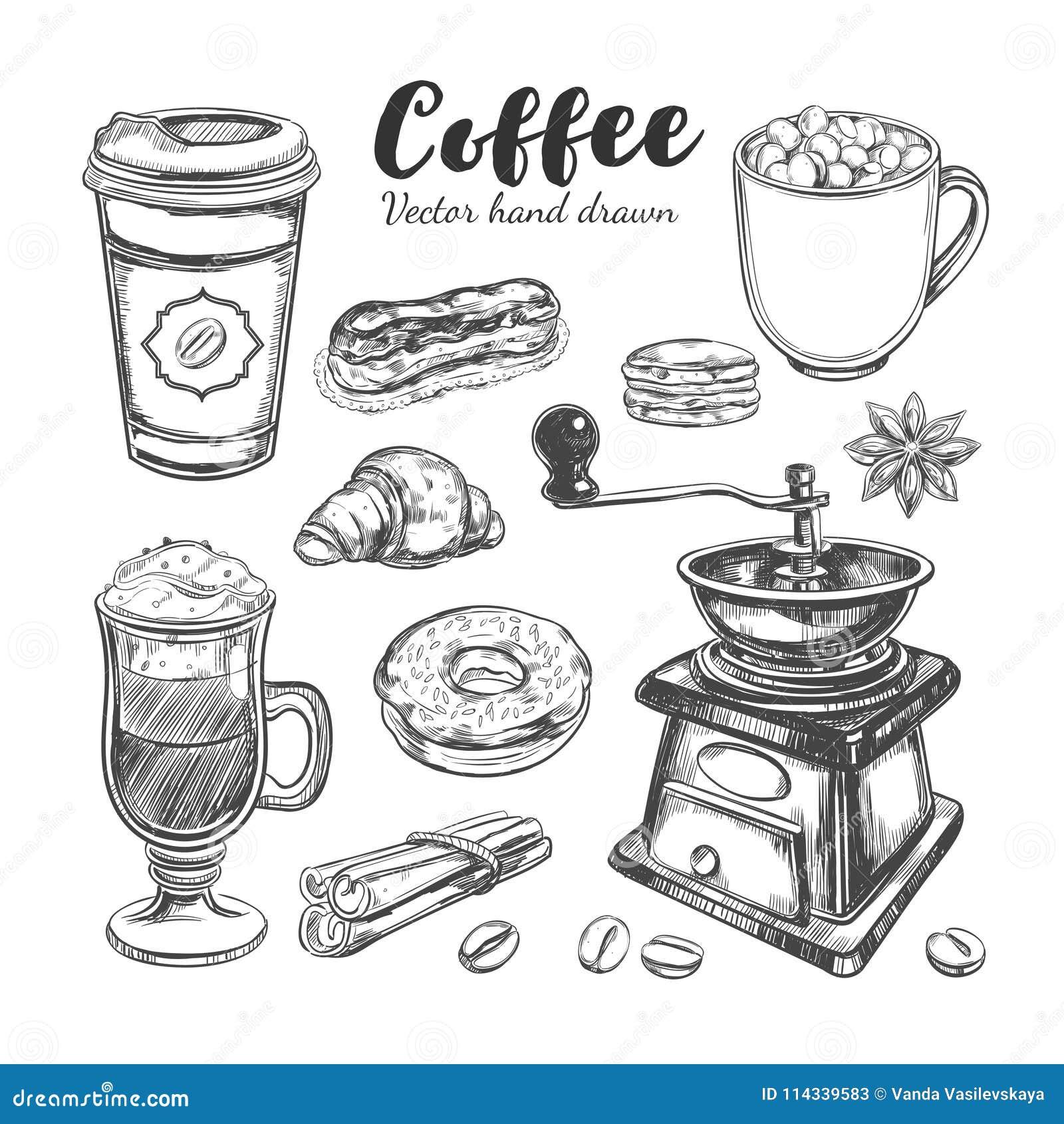 Kaffe och kaffe som går uppsättning