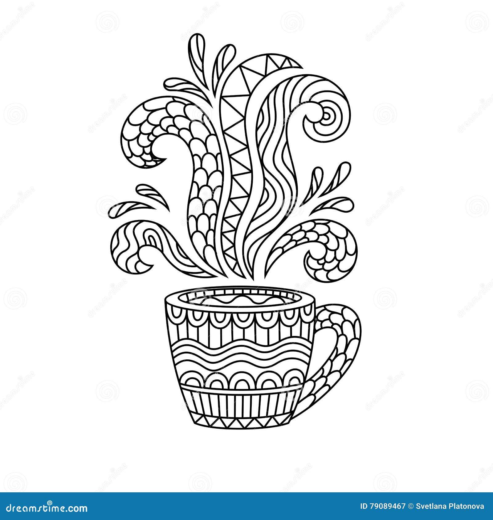 Kaffe rånar eller tekoppen med abstrakt begreppmodeller i stilen av zenen