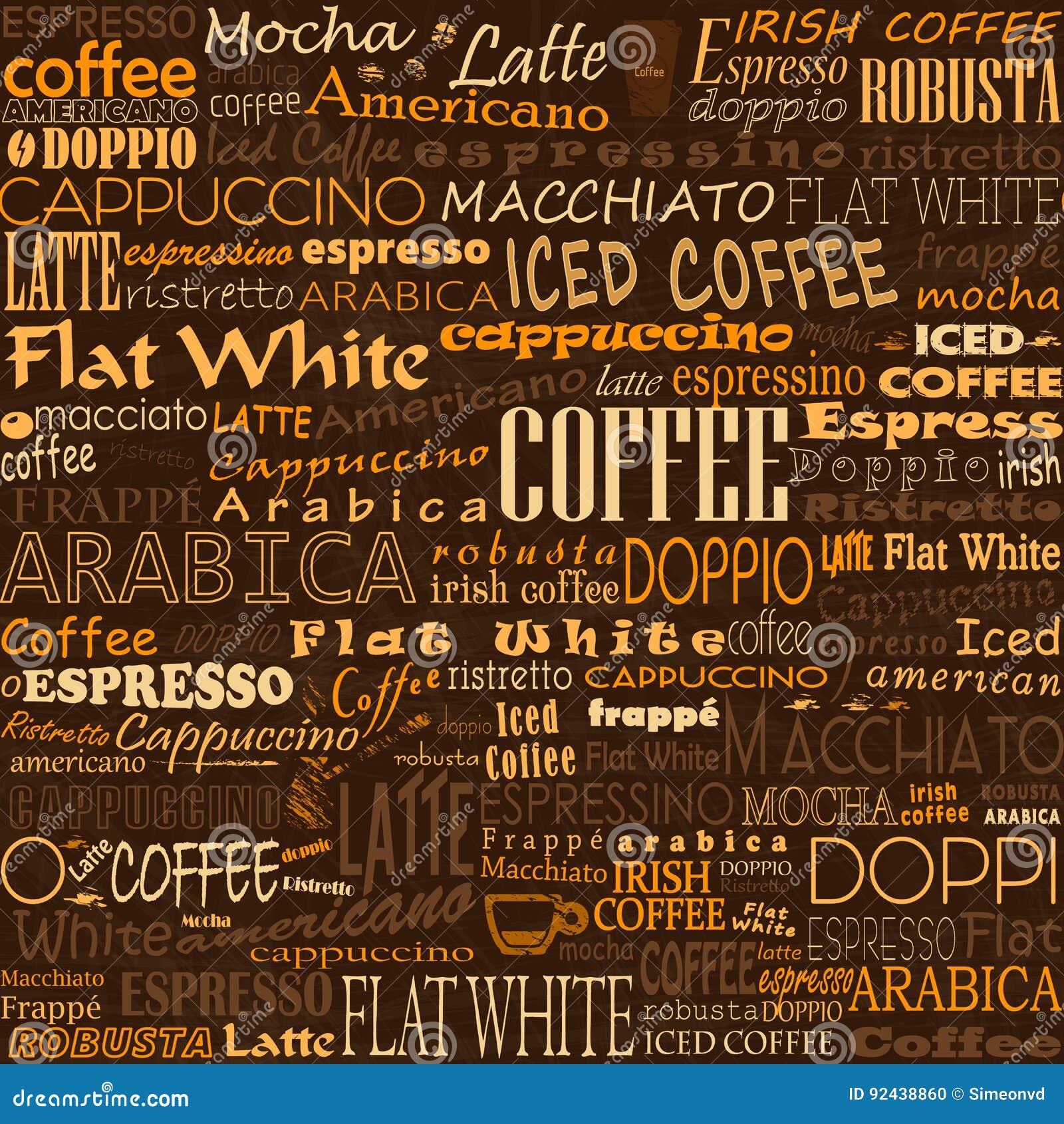 Kaffe uttrycker sömlösa bakgrundsetiketter