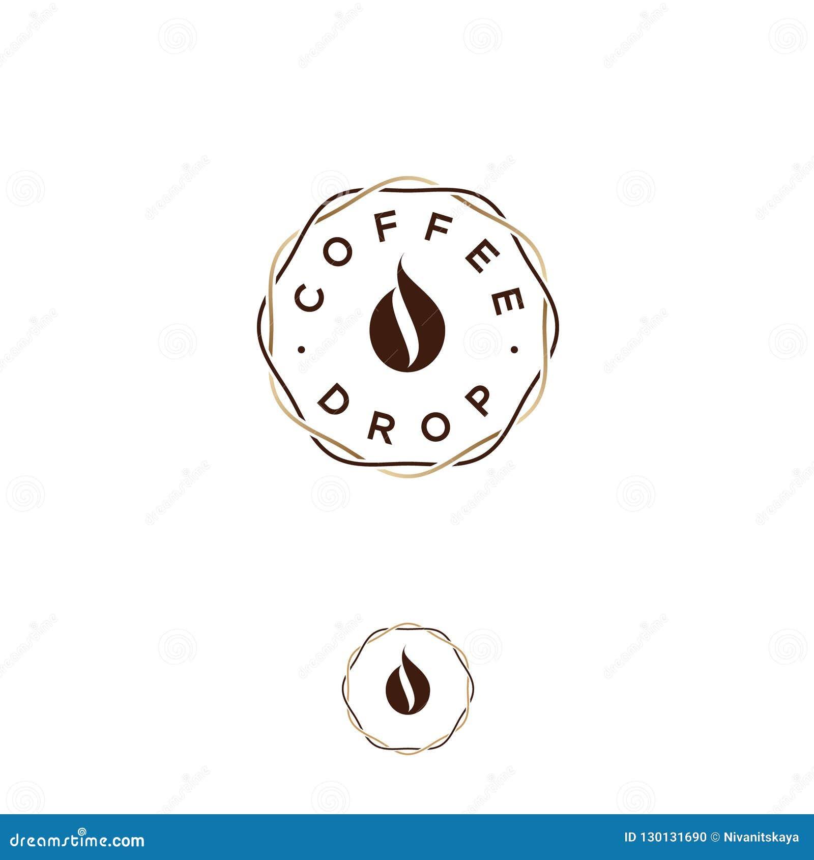 Kaffedropplogo Kaffeemblem Kaffedroppe, som kaffebönan, i flätade samman kranslinjer