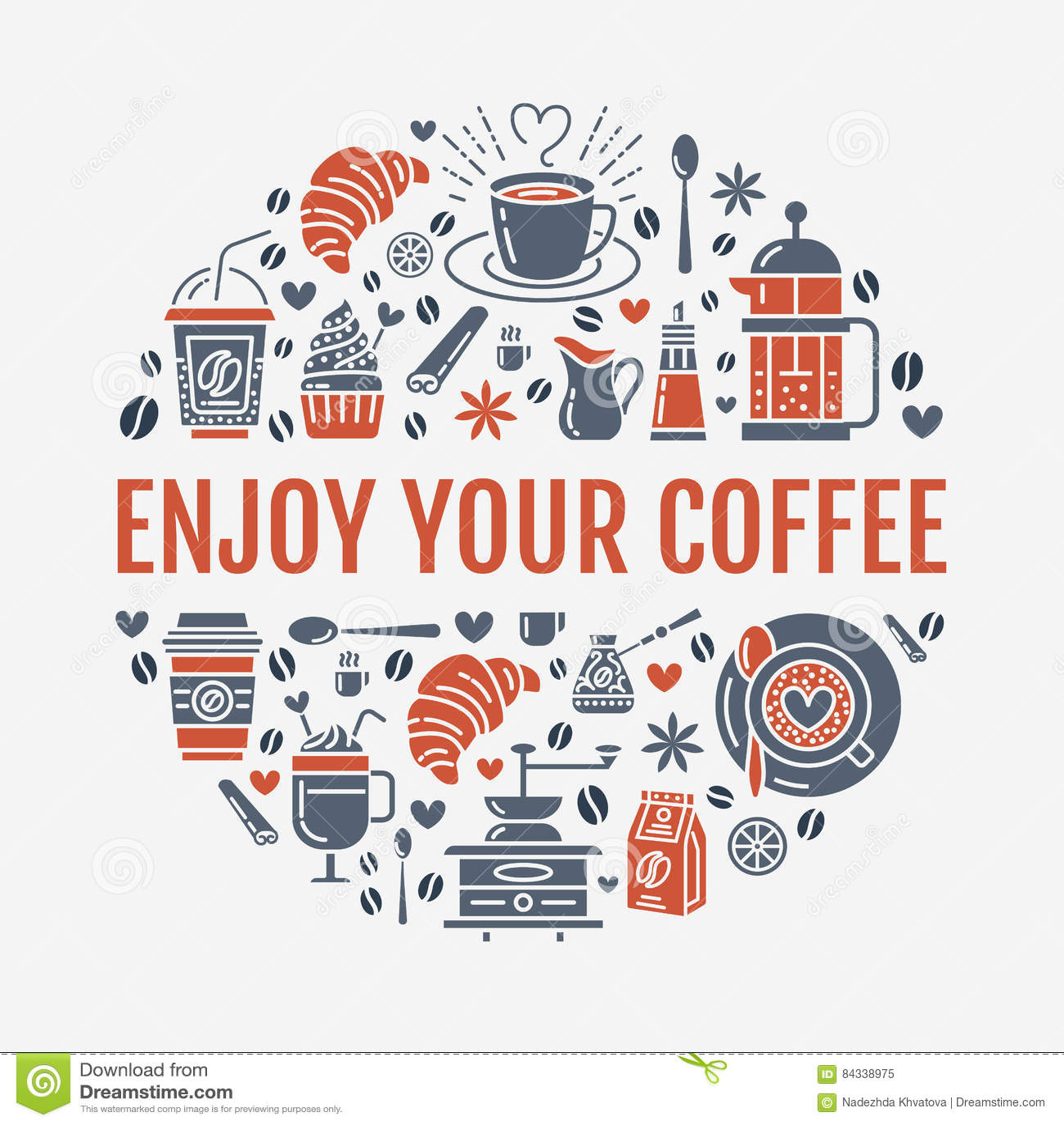 Kaffee, Der Plakatschablone Macht Brauenvektor Zeichnen Ikone ...