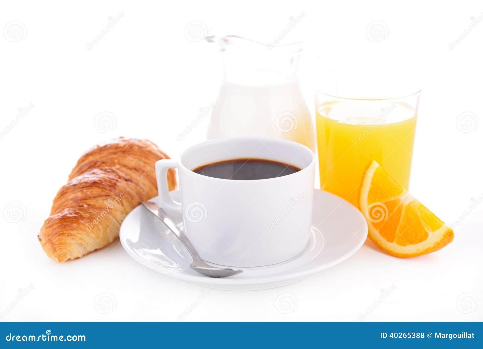 Kaffee, Hörnchen und Orangensaft