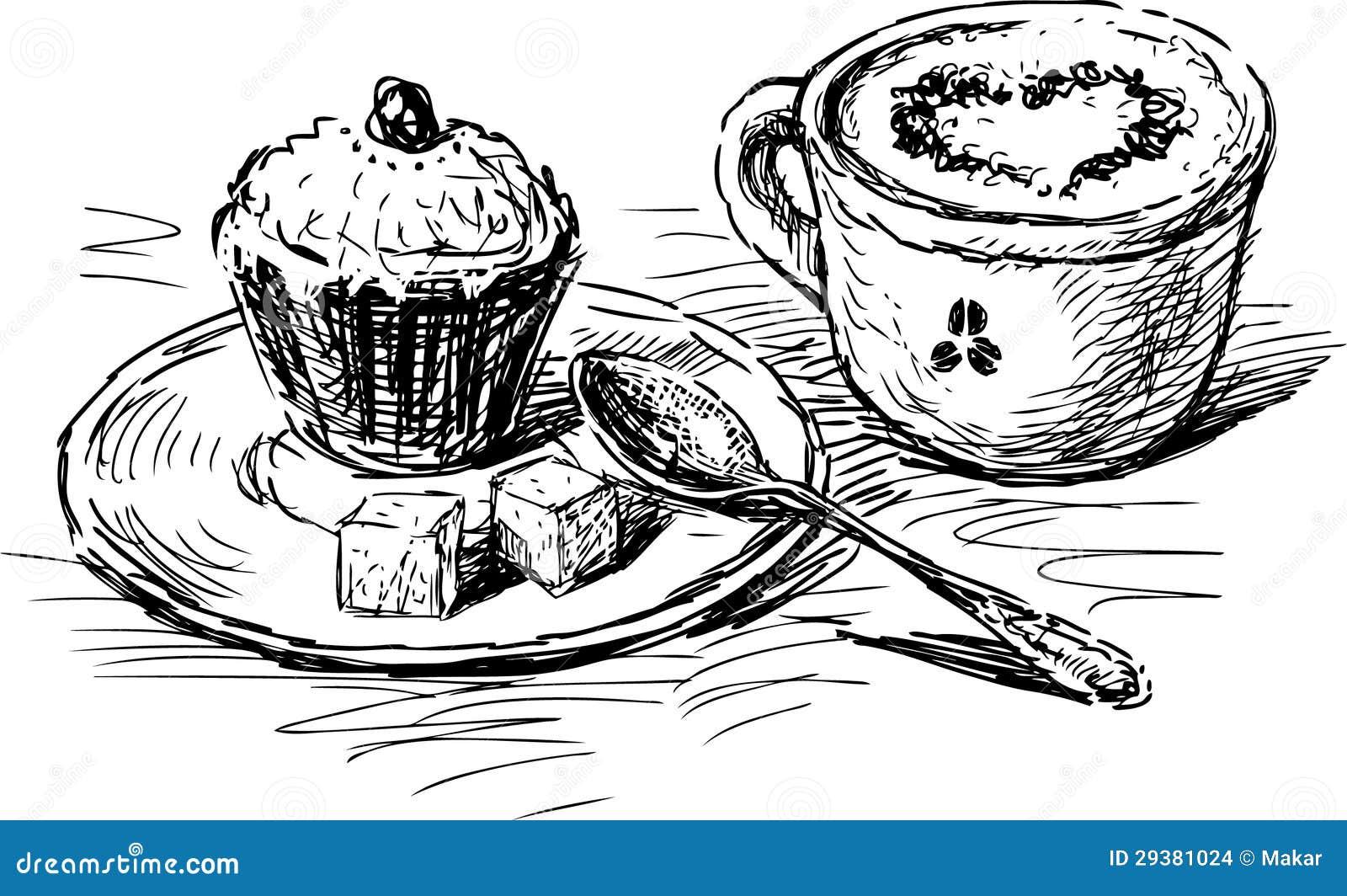 kaffee mit kuchen vektor abbildung illustration von cappuccino 29381024. Black Bedroom Furniture Sets. Home Design Ideas