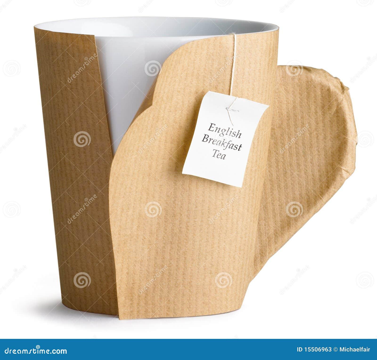 Kaffee, Tee, Cup, Becher eingewickelt oben im braunen Papier