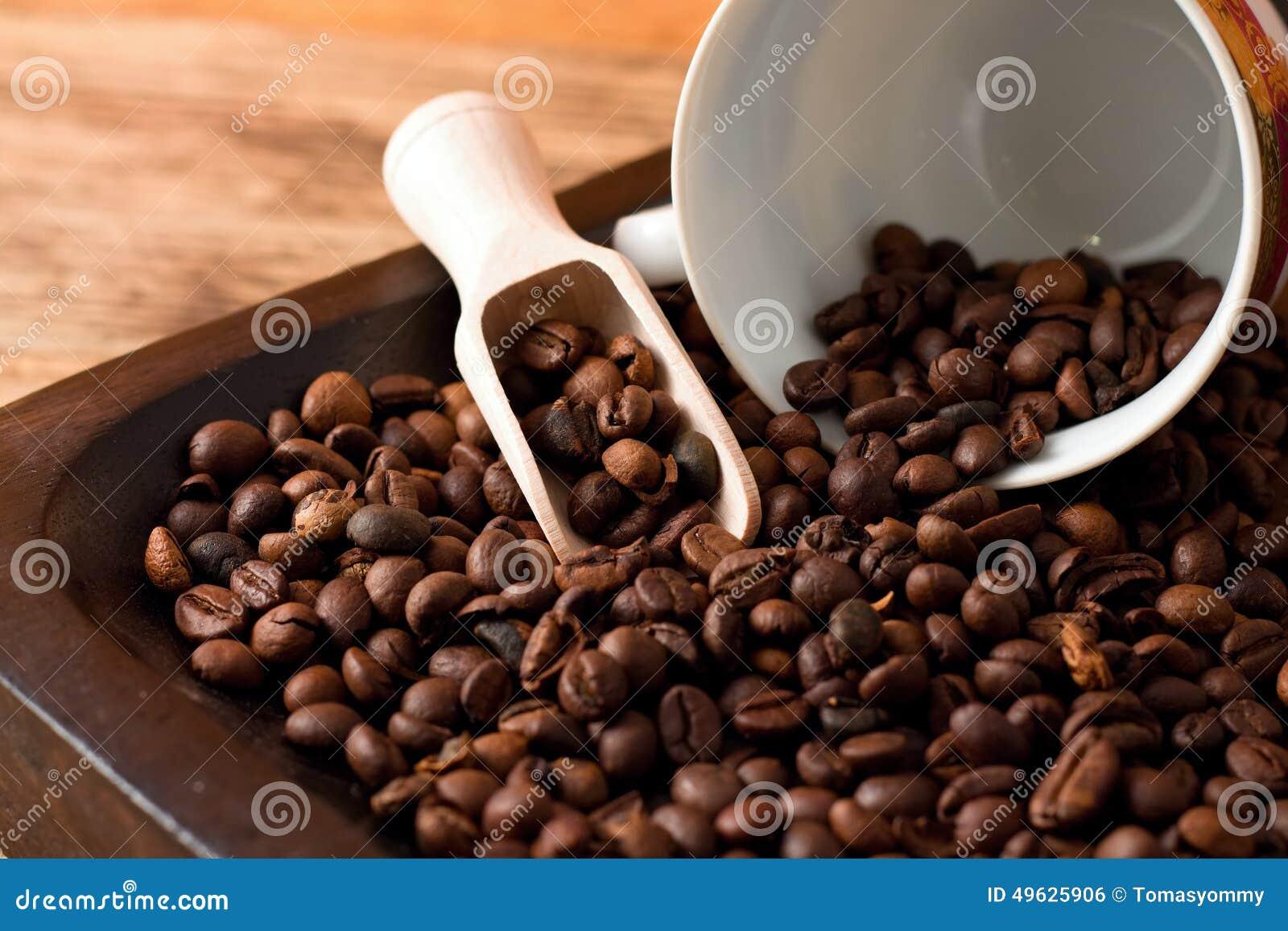 Kaffeebohnen Auf Behälter Vom Dunklen Holz Und Von