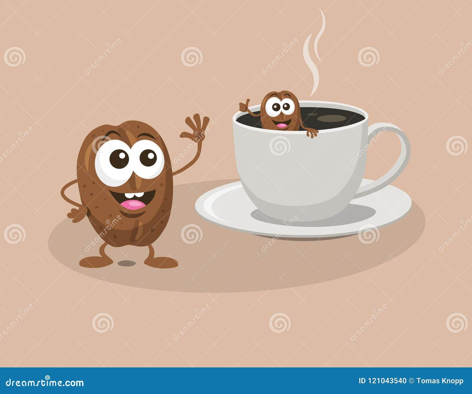 Kaffeebohnen baden in einem Tasse Kaffee